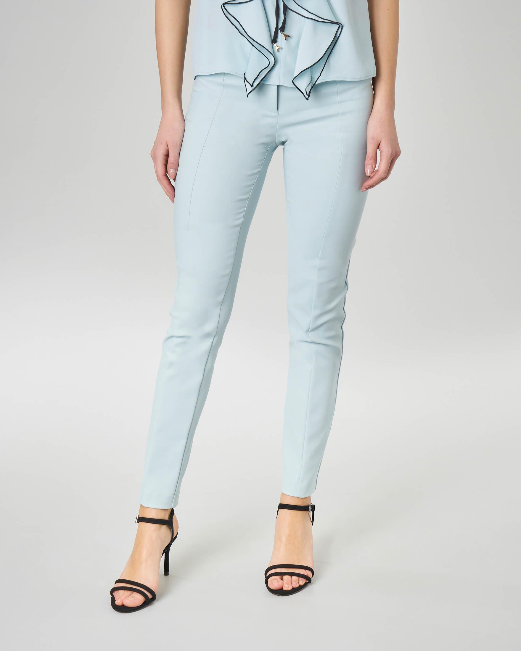 Pantaloni a sigaretta color acqua in cotone elasticizzato
