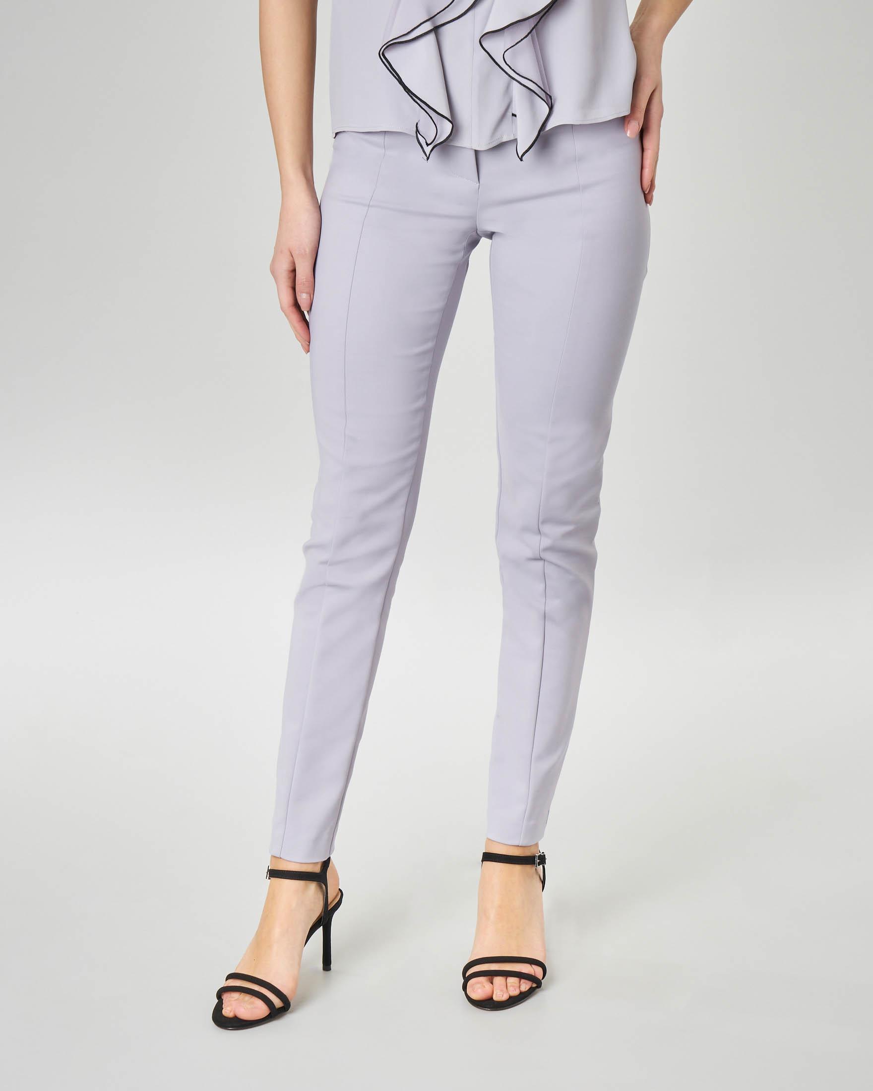 Pantaloni a sigaretta lilla in cotone elasticizzato