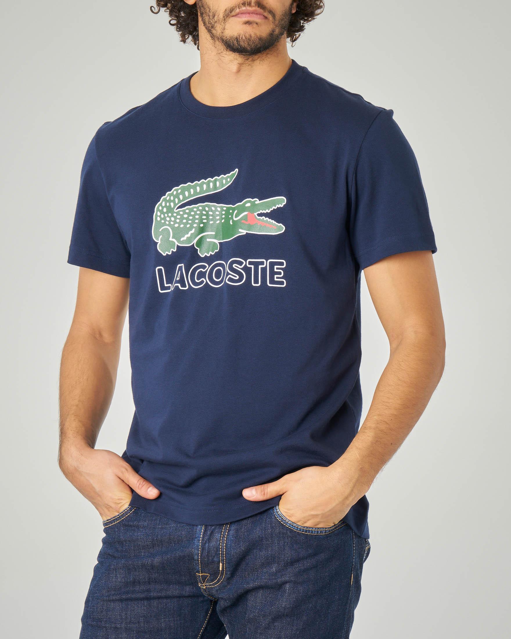 T-shirt blu con maxi-logo e coccodrillo stampati