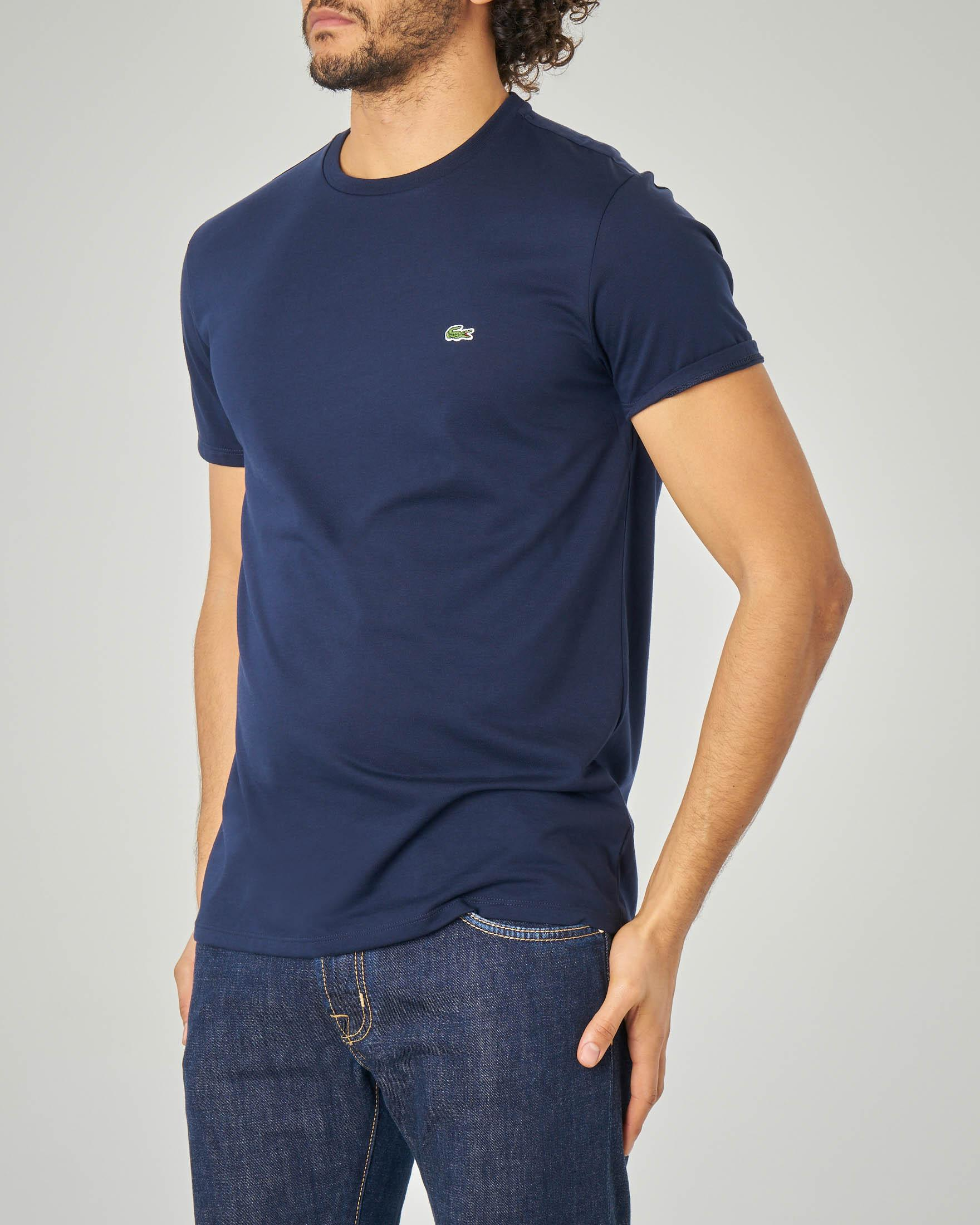T-shirt blu in pima cotton con logo coccodrillo verde