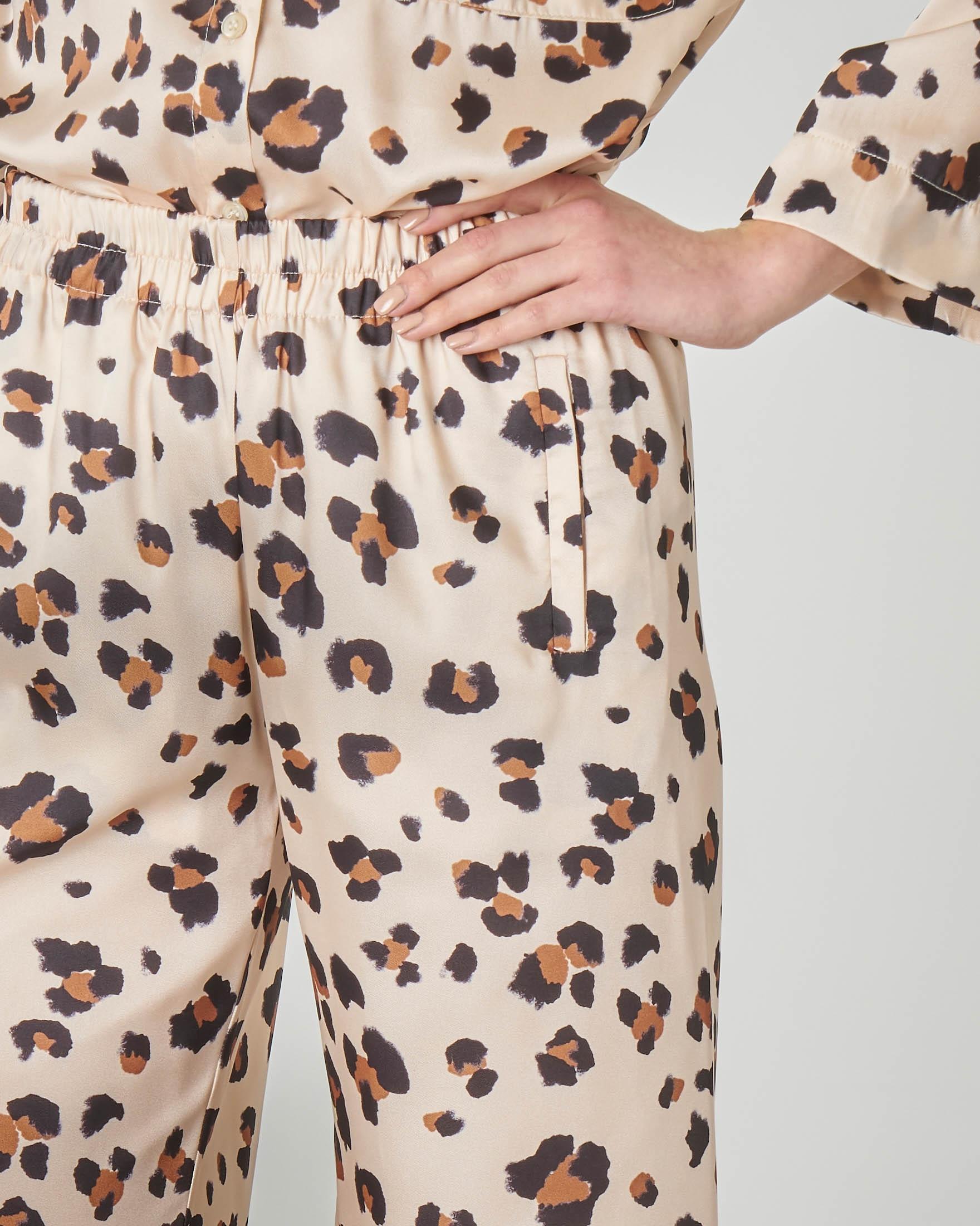 Pantalone palazzo a stampa animalier con elastico in vita