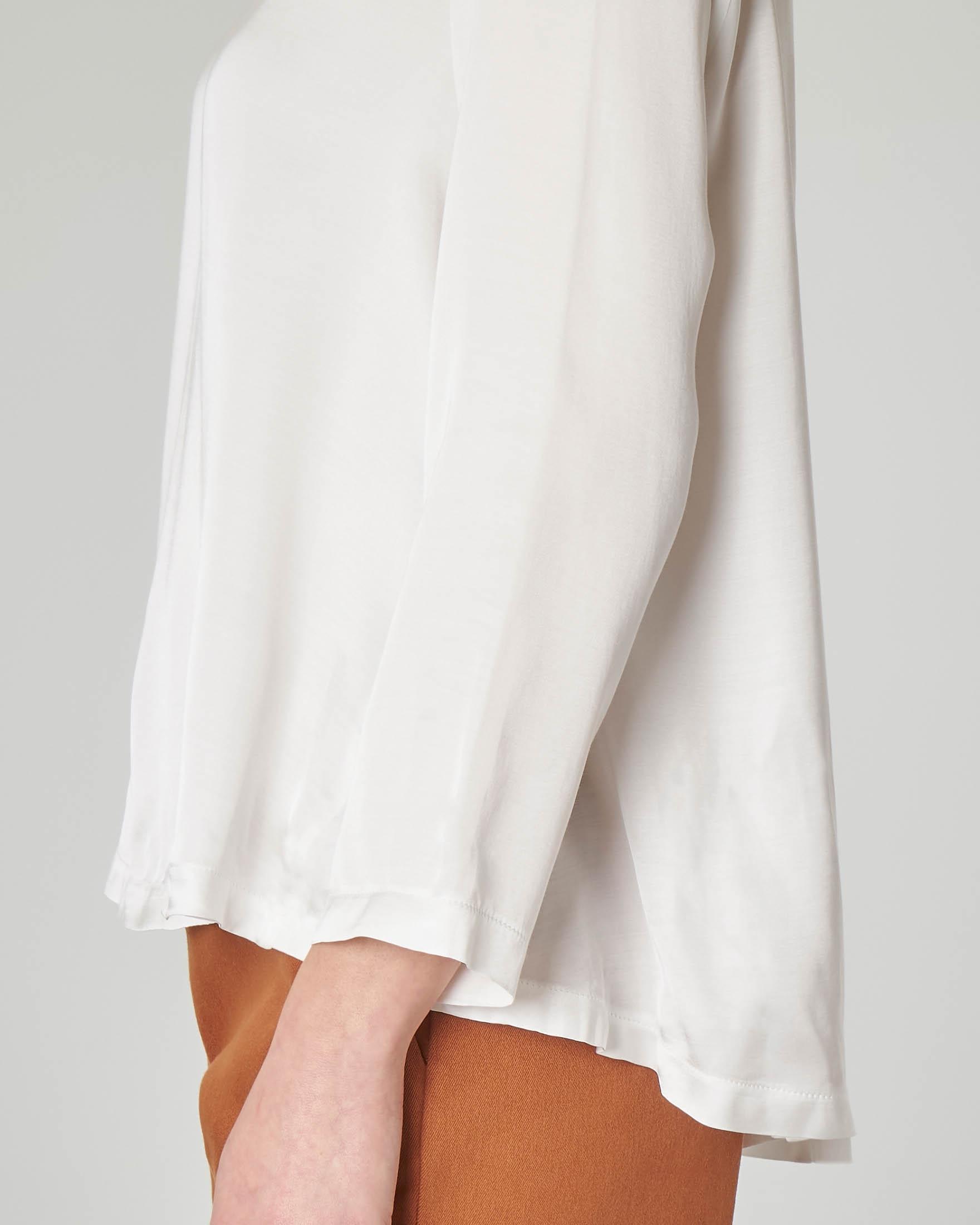 Blusa in crêpe di viscosa bianca manica lunga
