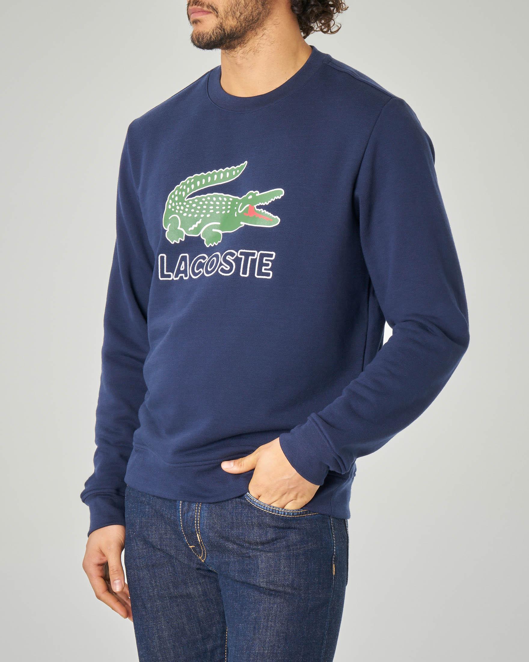 Felpa blu girocollo con coccodrillo e logo stampati
