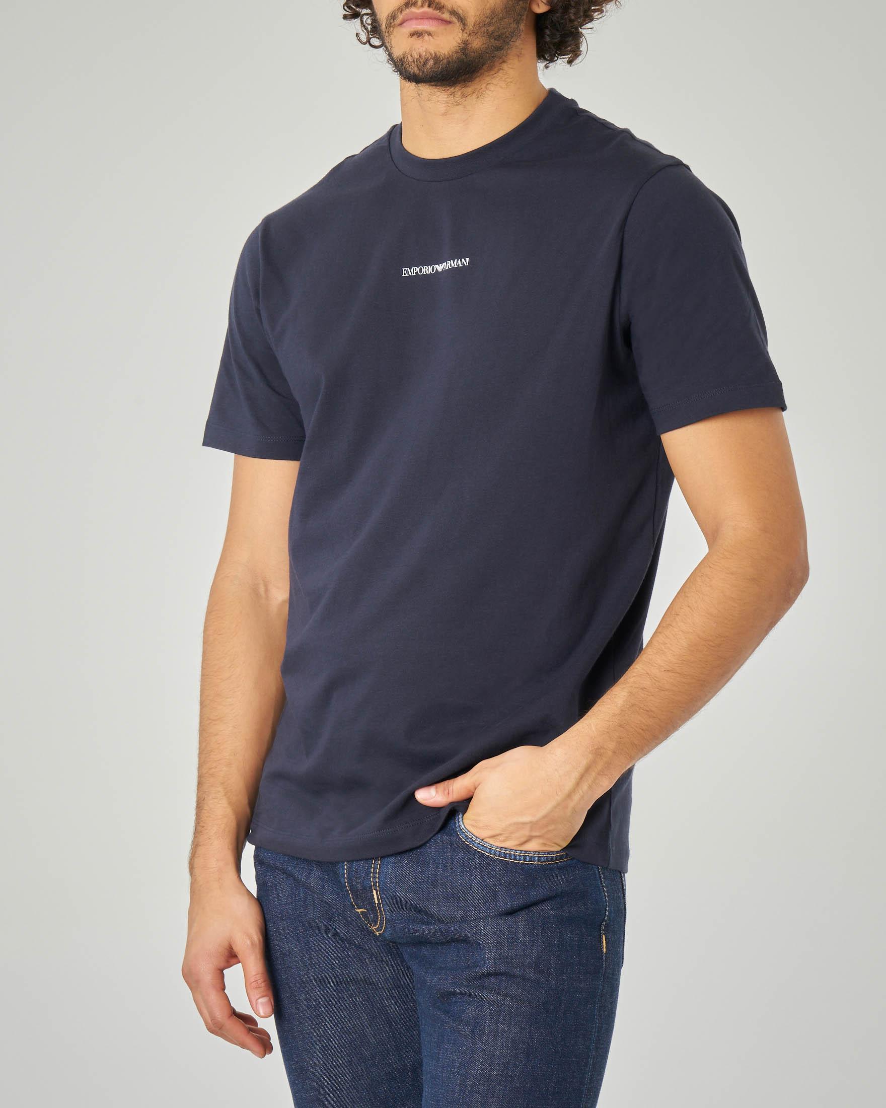 T-shirt blu con piccolo logo stampato