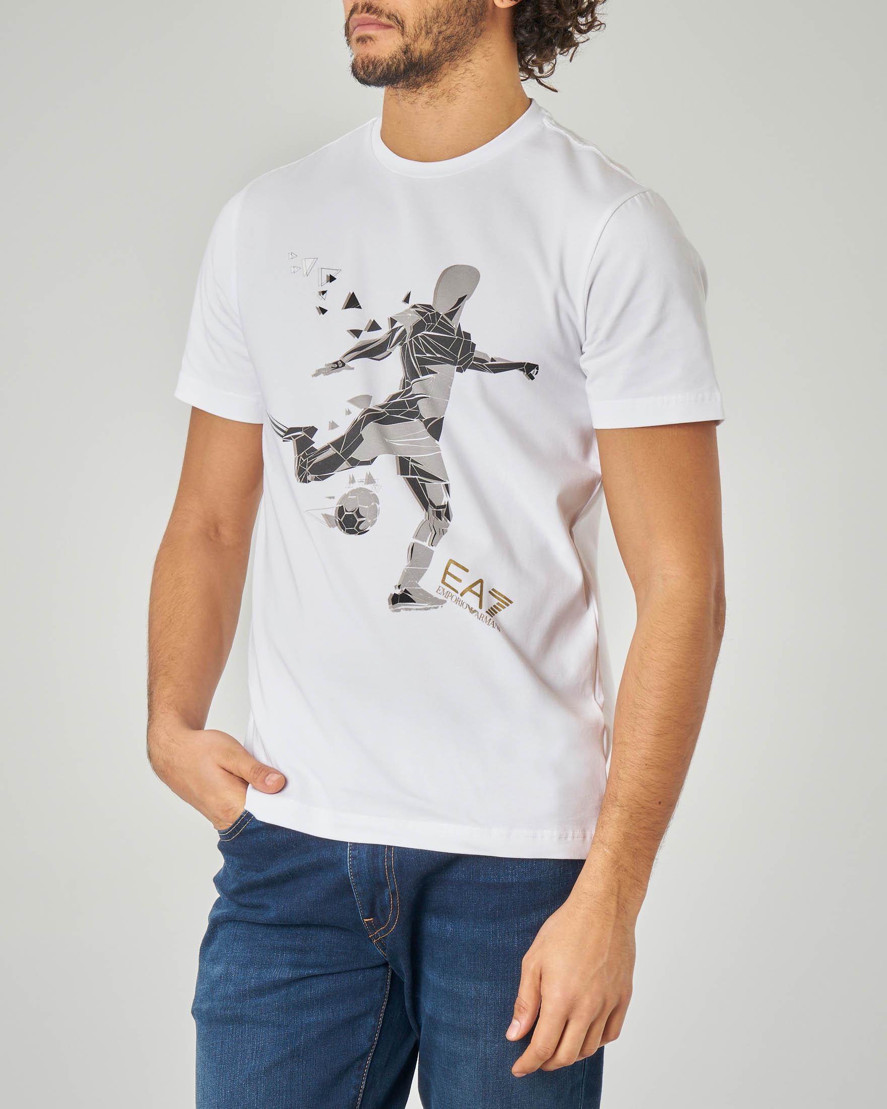 T-shirt bianca stretch con stampa calciatore