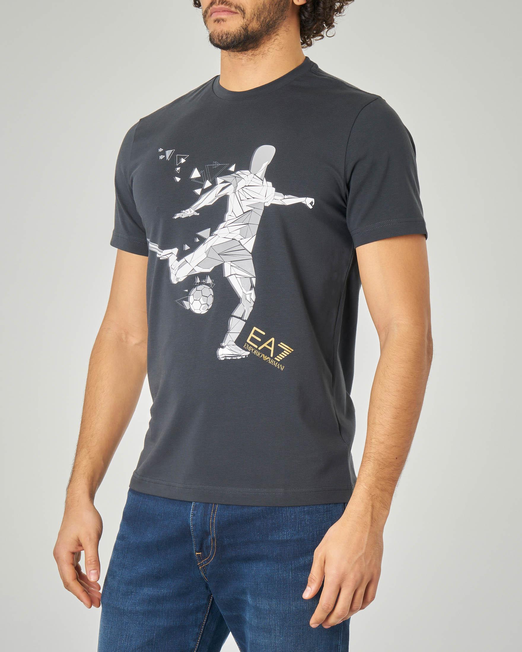 T-shirt blu stretch con stampa calciatore