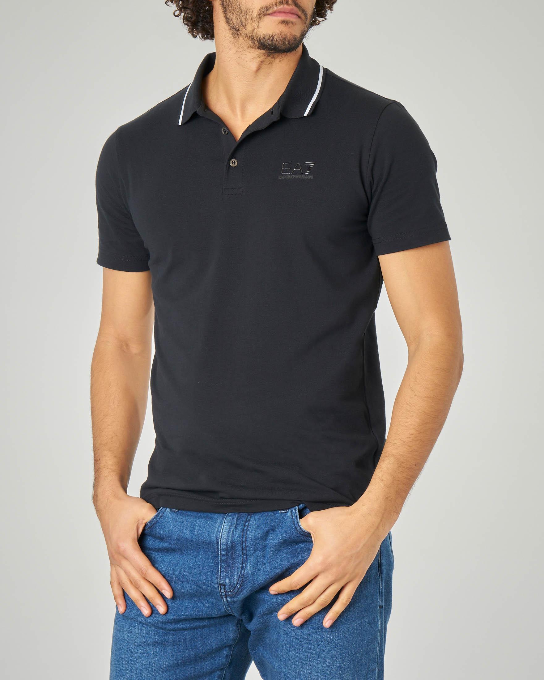 Polo nero in jersey stretch con bordino