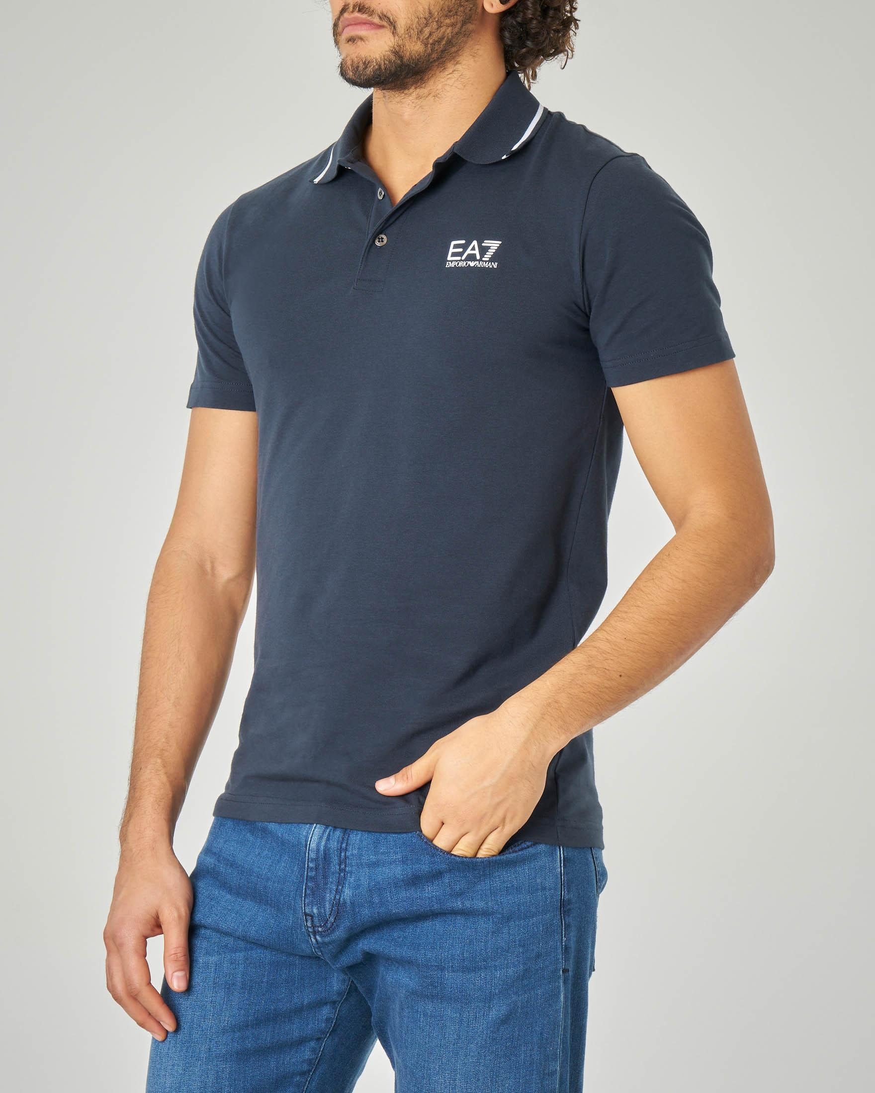 Polo blu in jersey stretch con bordino