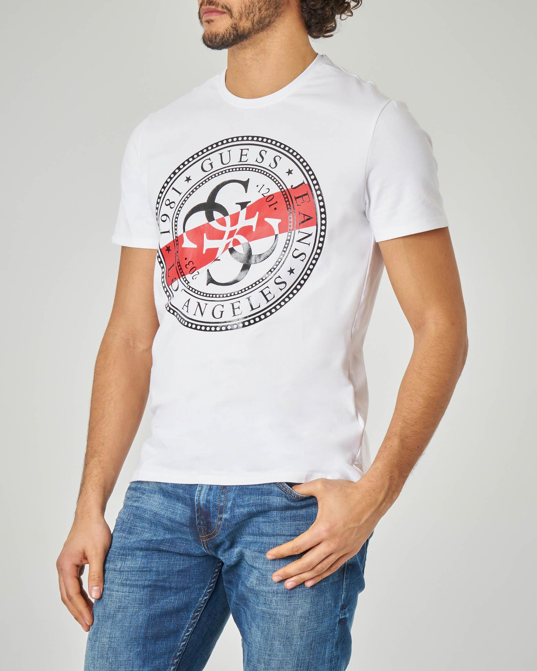 T-shirt bianca con logo bollo 4G