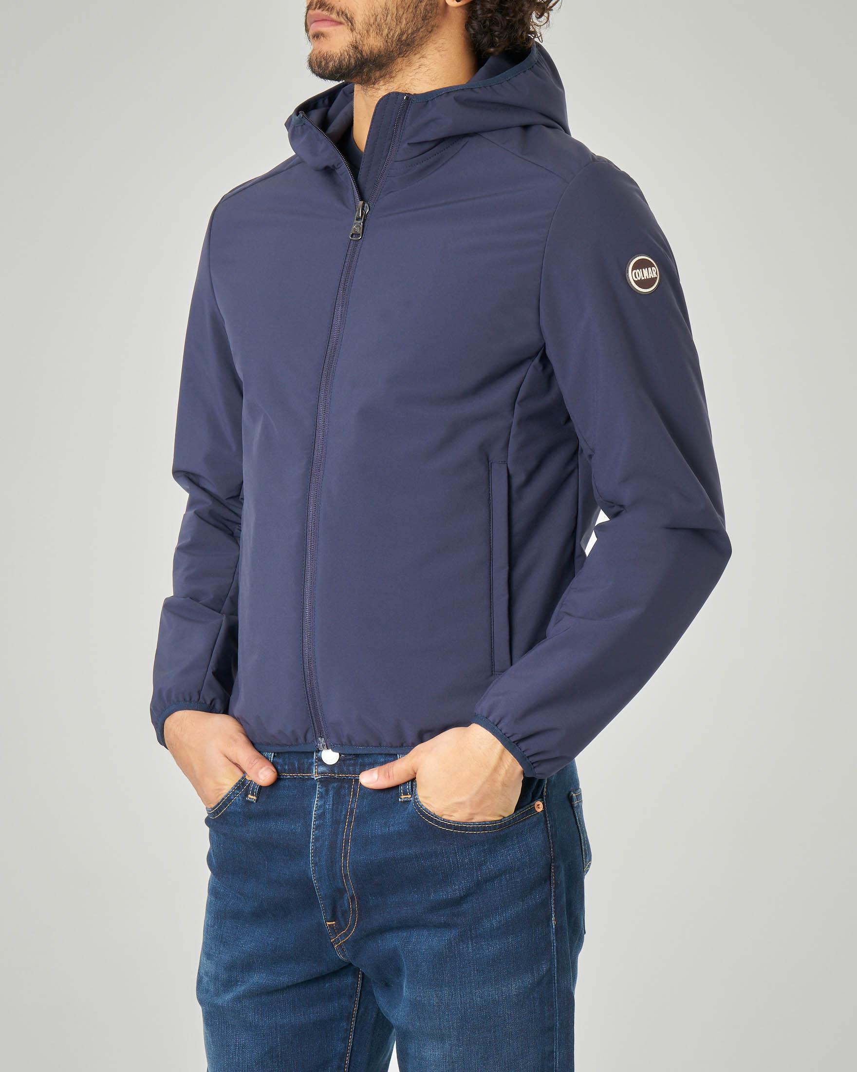 Giacca blu con cappuccio in tessuto tecnico