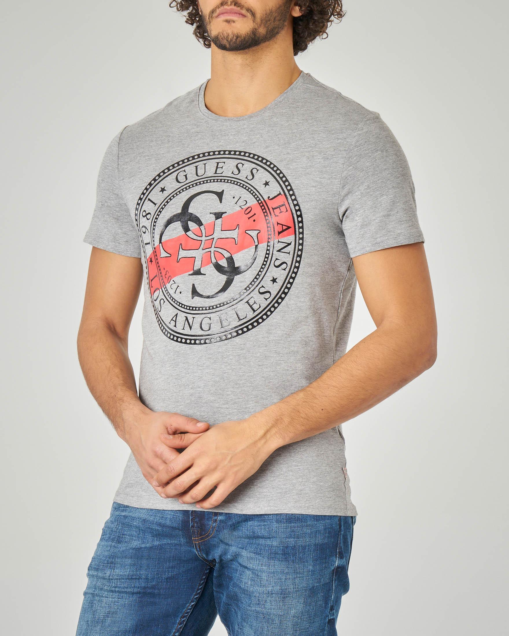 T-shirt grigia con logo bollo 4G