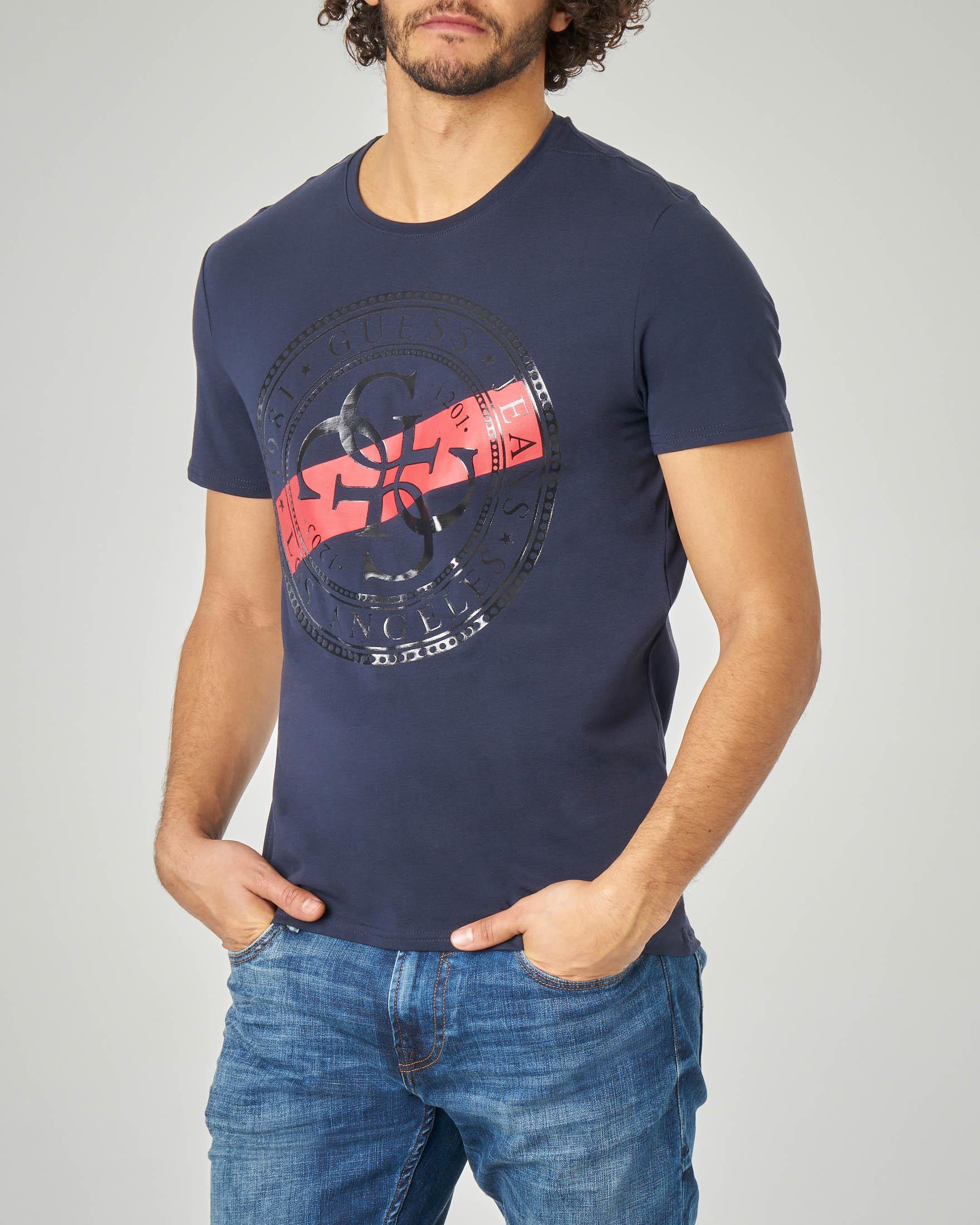 T-shirt blu con logo bollo 4G