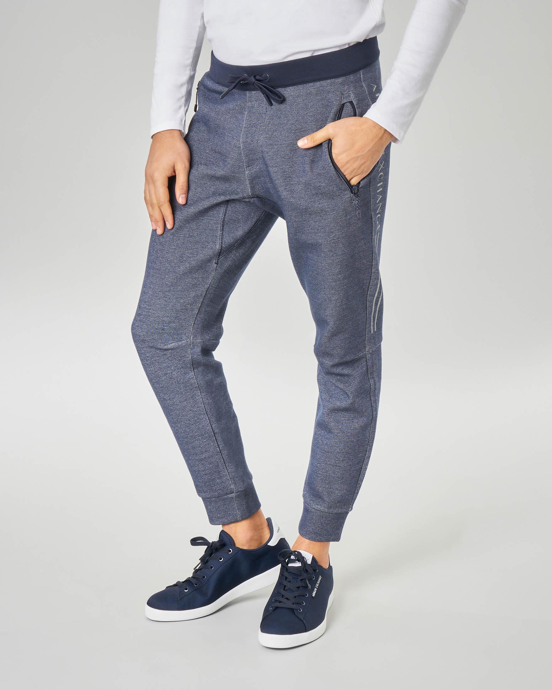 Pantalone Joggers blu melange in felpa