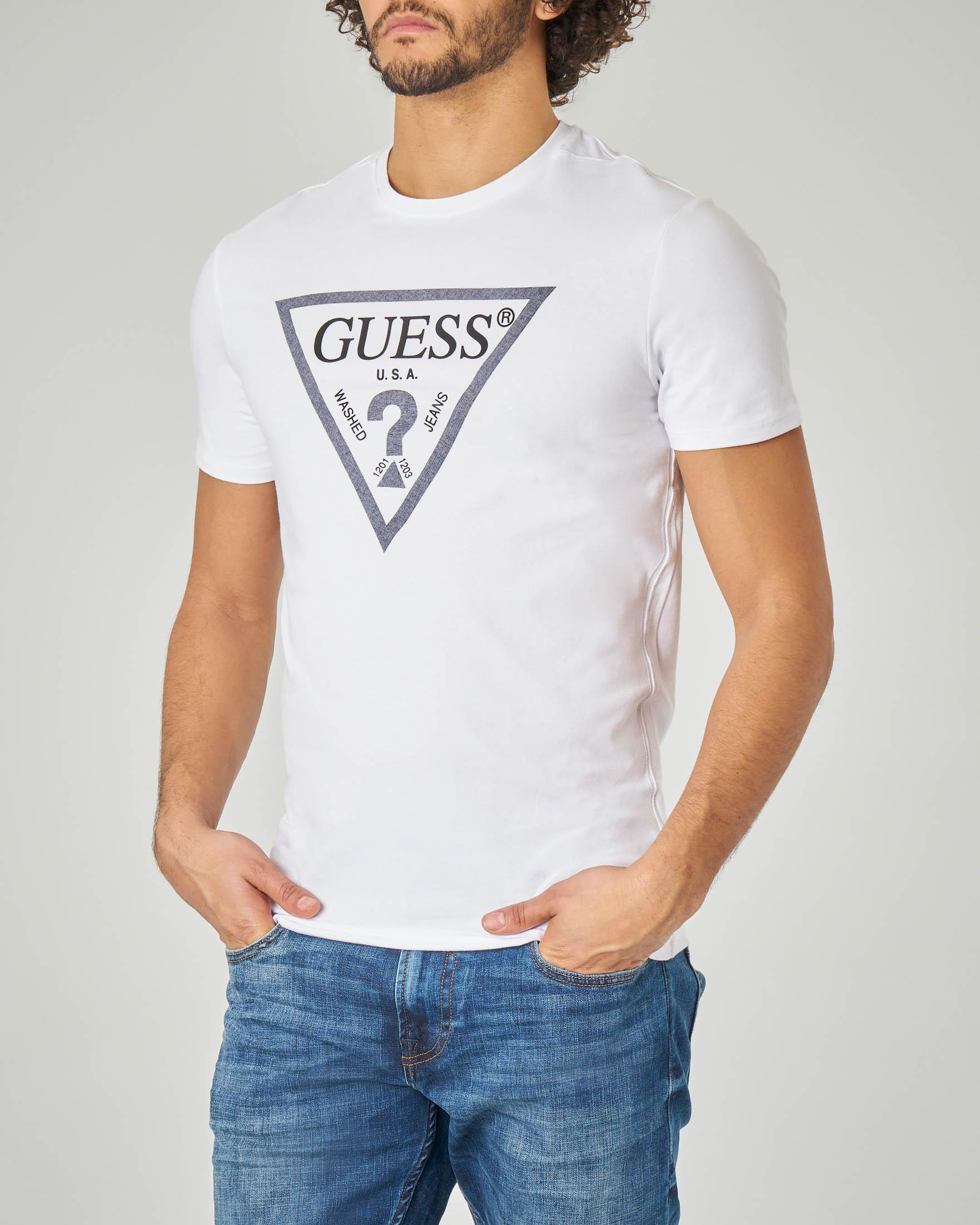 T-shirt bianca stretch con logo triangolo