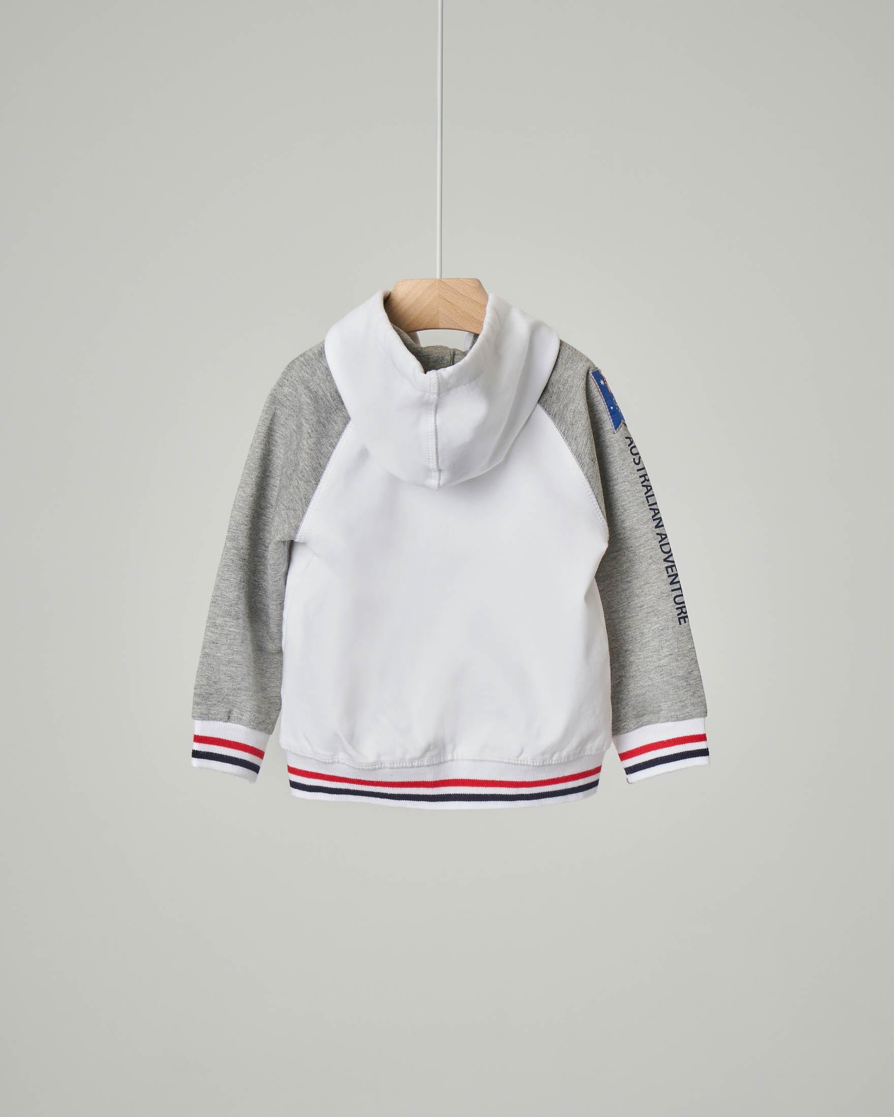 Felpa bianca con cappuccio e zip