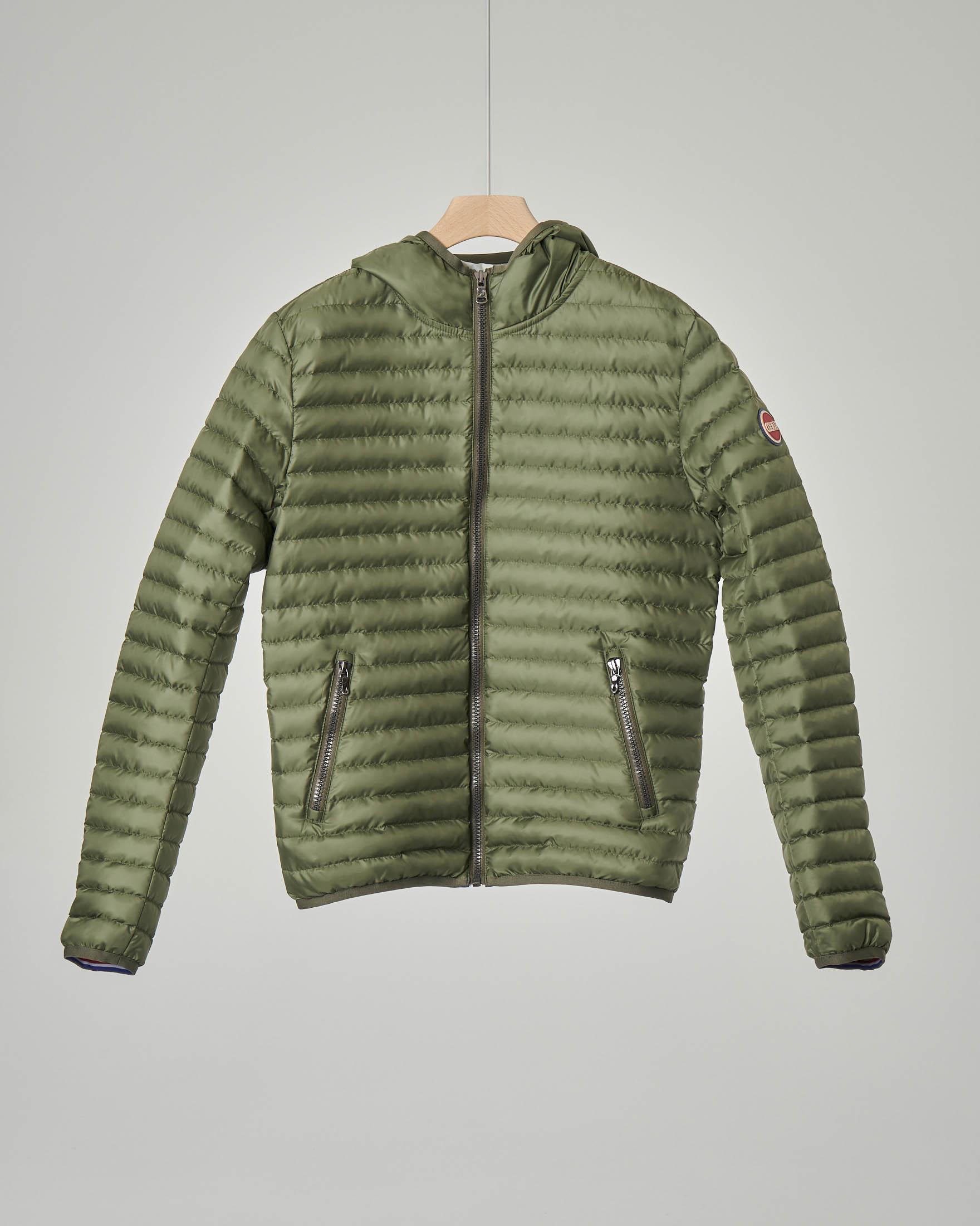 Piumino verde militare con cappuccio 10 anni
