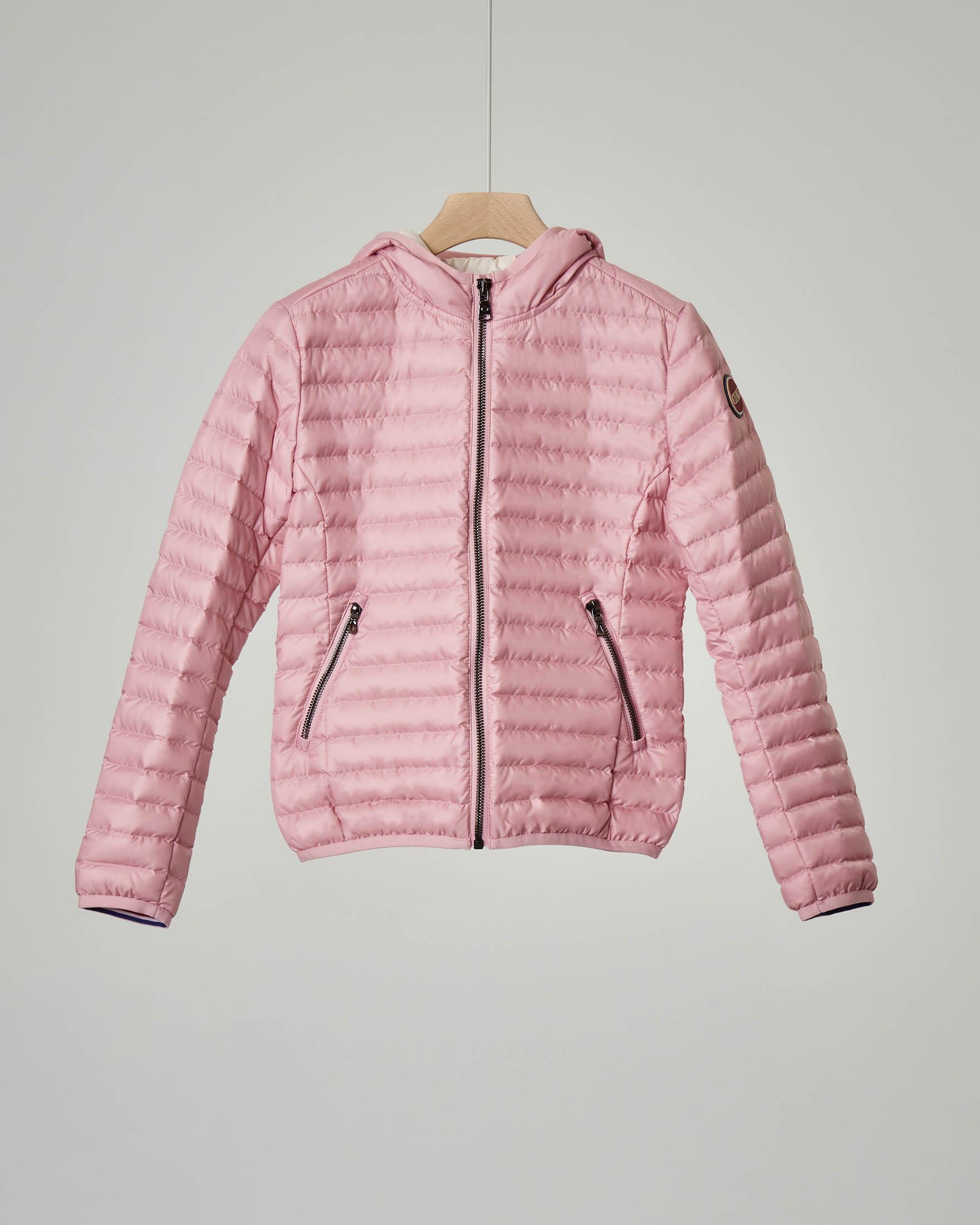 Piumino rosa con cappuccio 8-10 anni