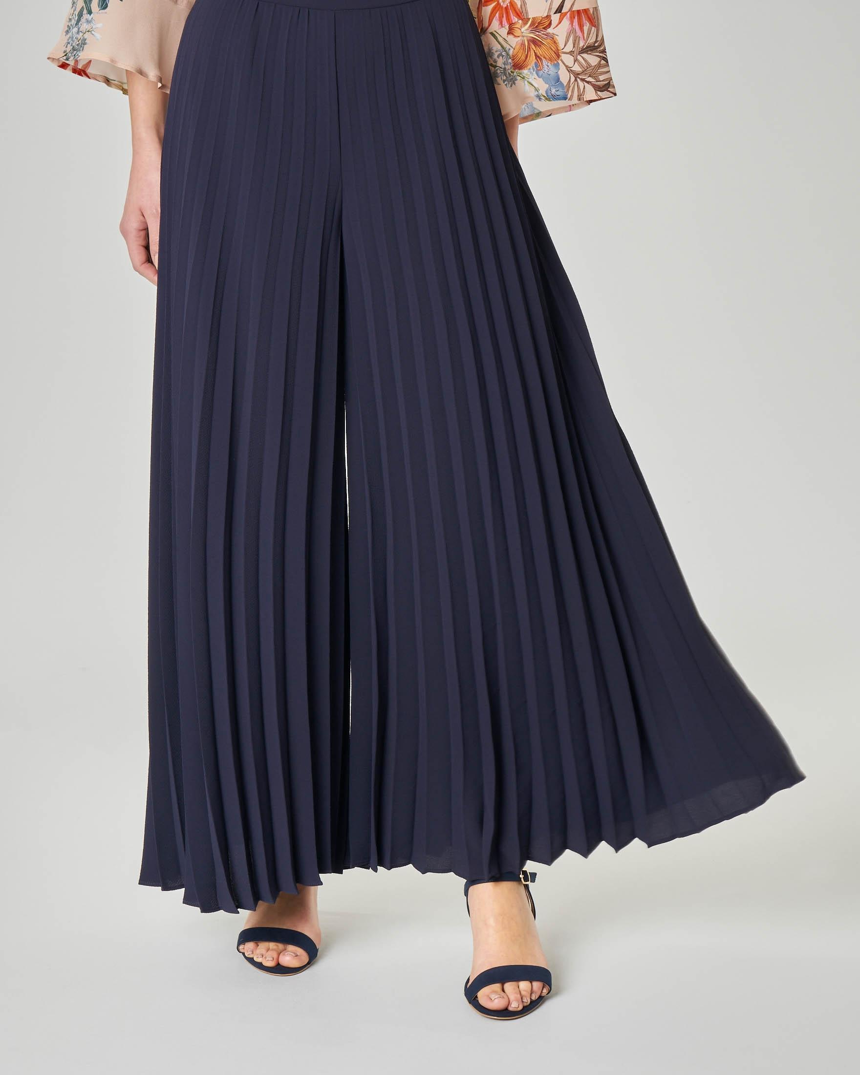 Pantalone palazzo plissè blu