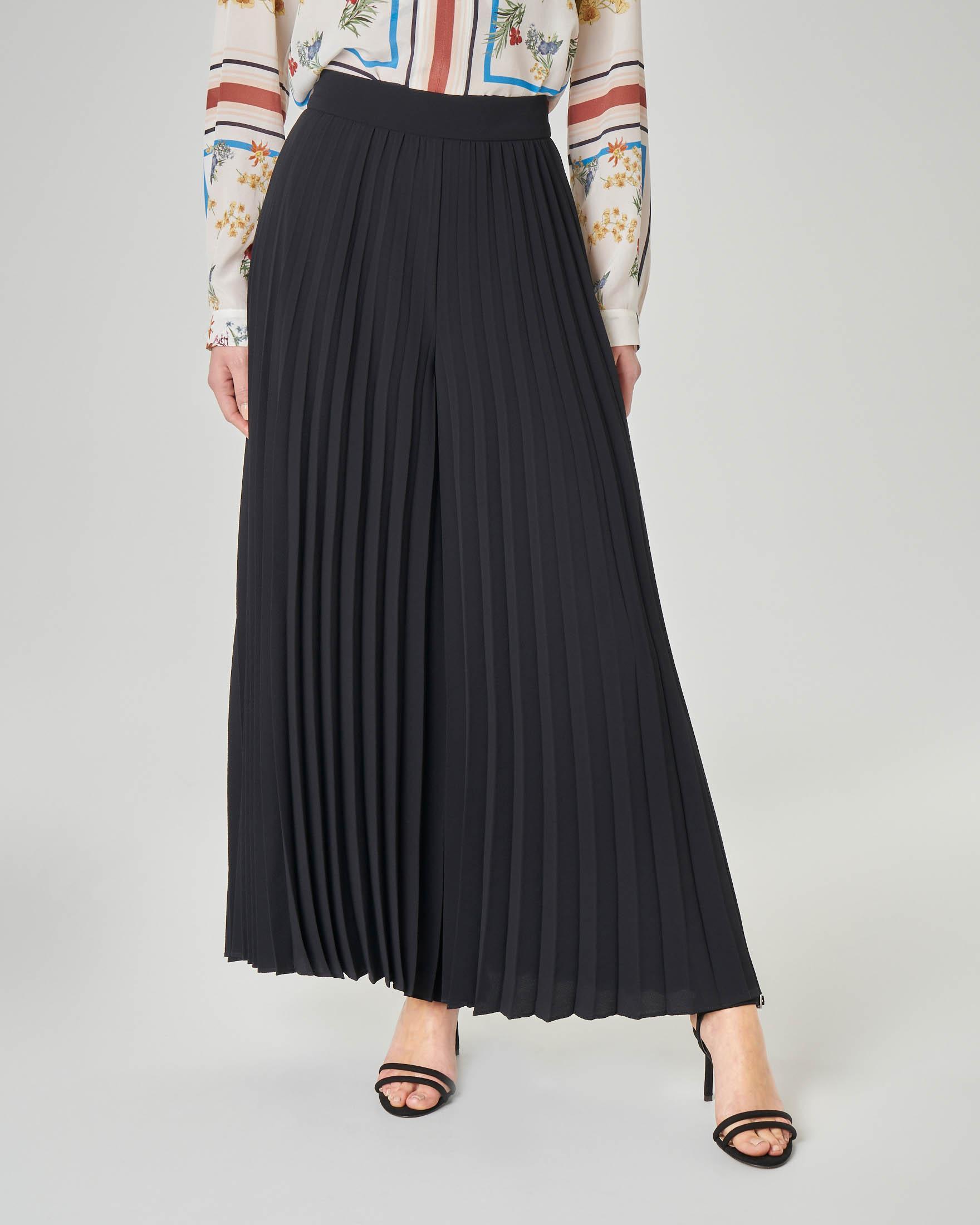 Pantalone palazzo plissè nero