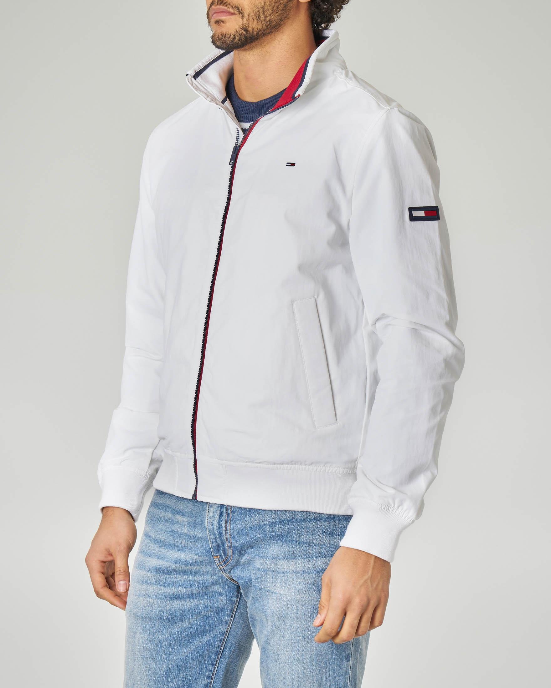 Giacca sailor bianca con zip in contrasto