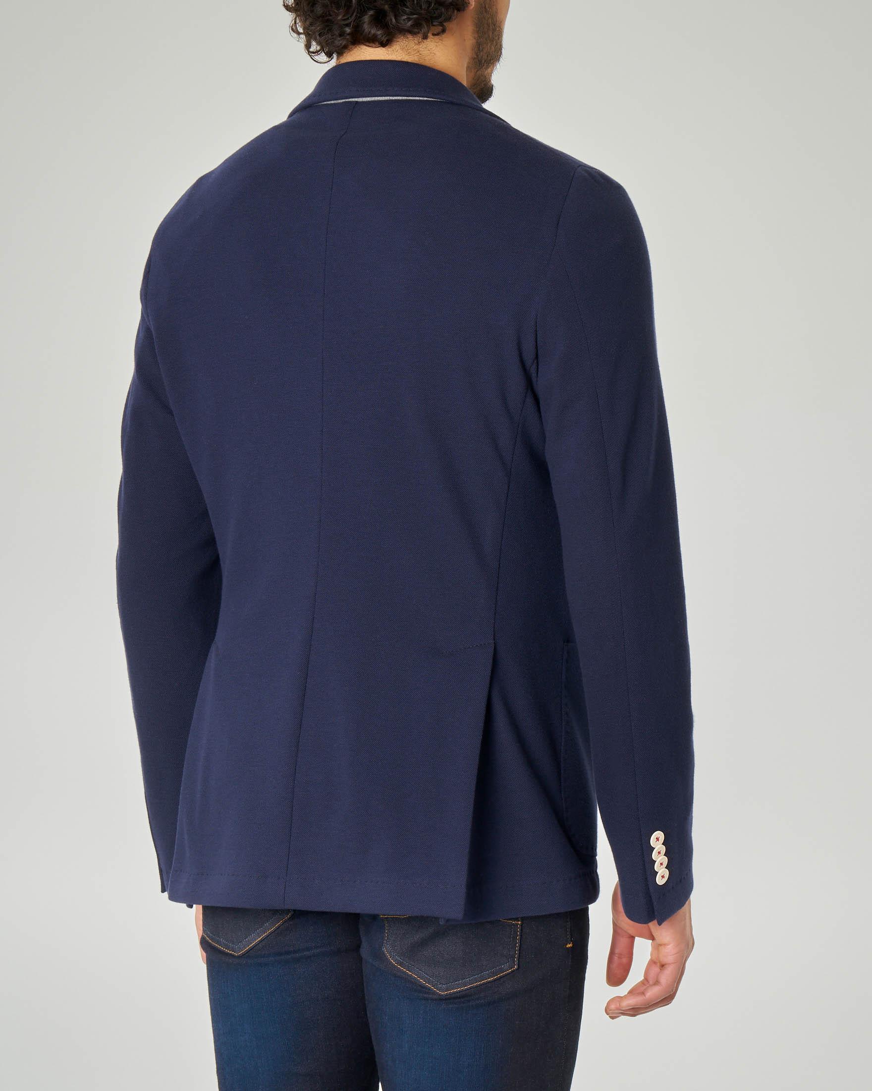 Giacca blu in cotone piquet
