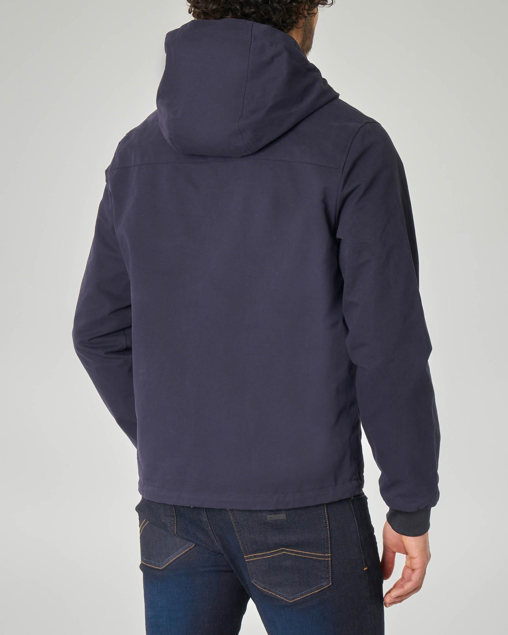 Giacca blu in cotone reversibile in giacca nylon nera