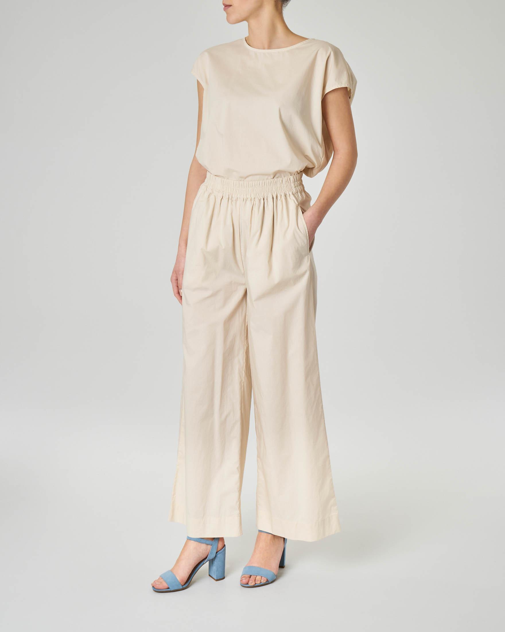 Pantalone palazzo beige in cotone con elastico in vita