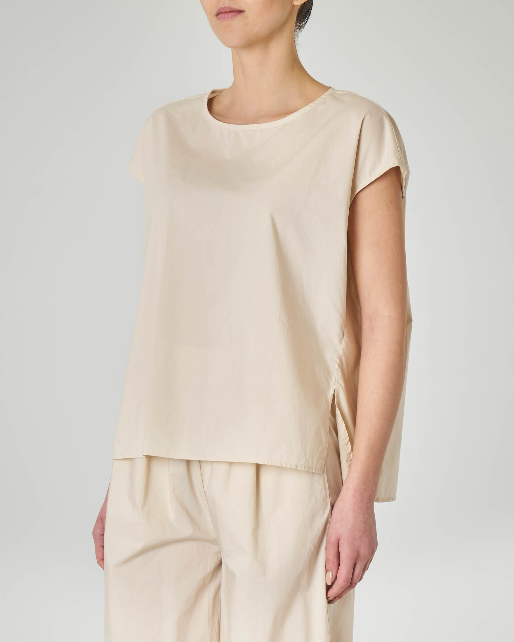 Top girocollo in cotone beige linea dritta over