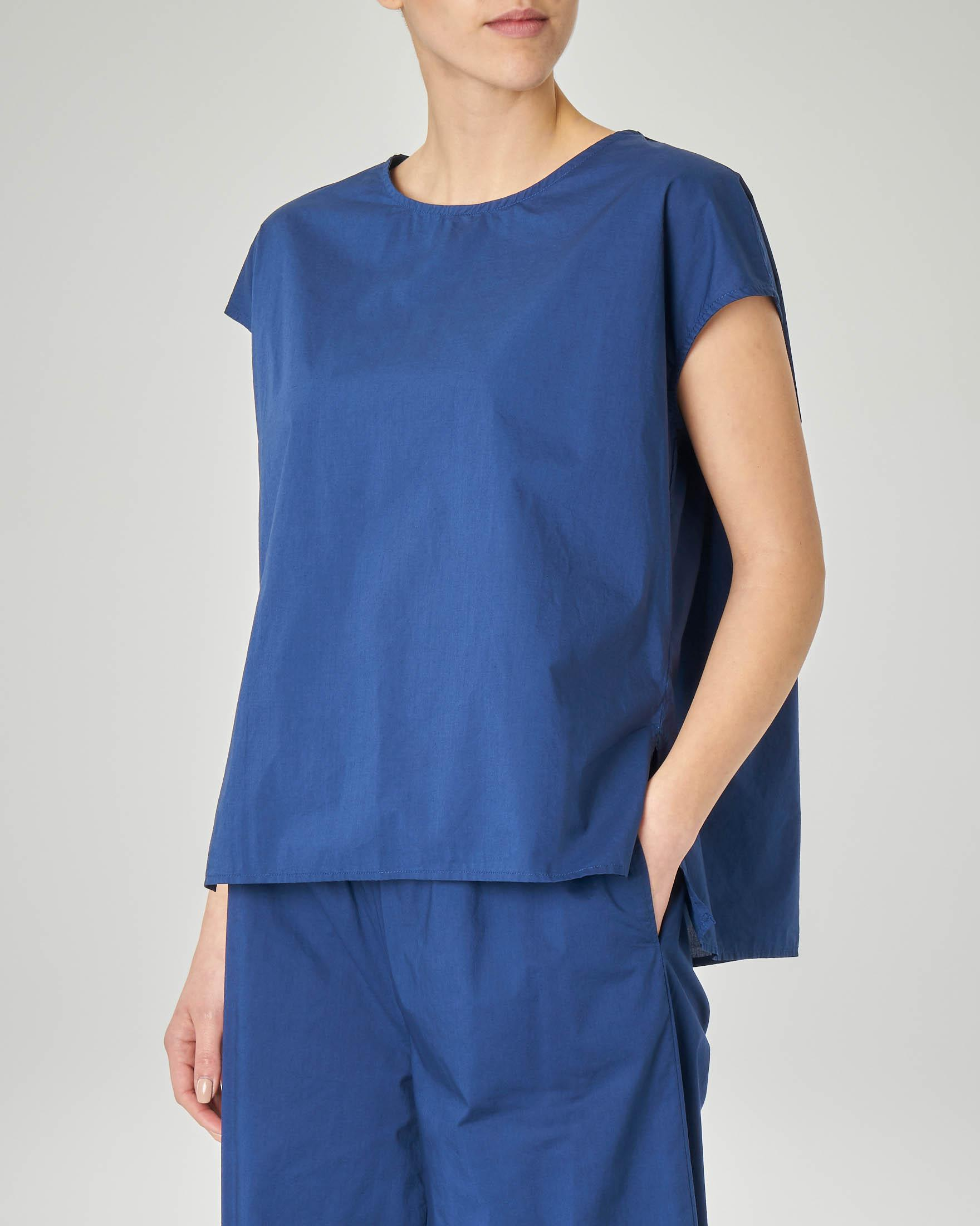 Top girocollo in cotone blu china linea dritta over