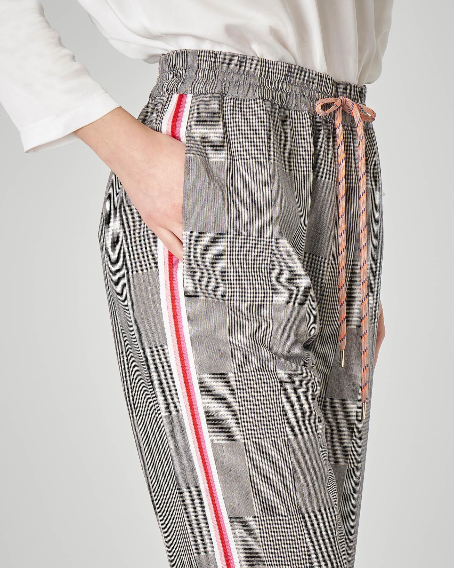 Pantaloni principe di Galles con banda multicolore laterale