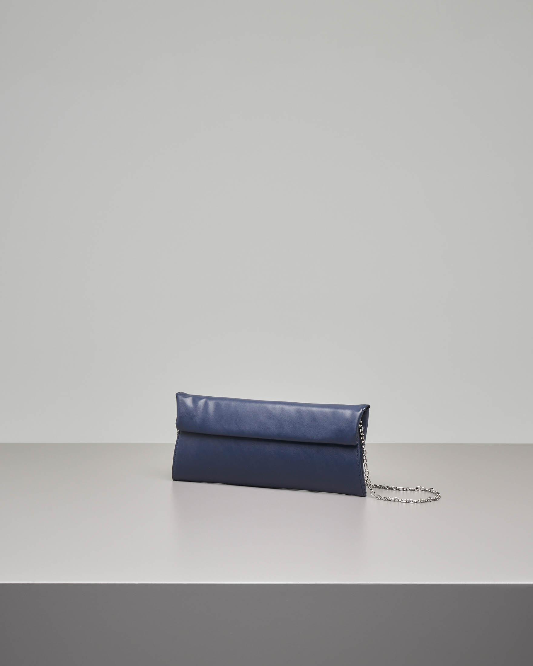 Pochette a busta in ecopelle effetto liscio blu