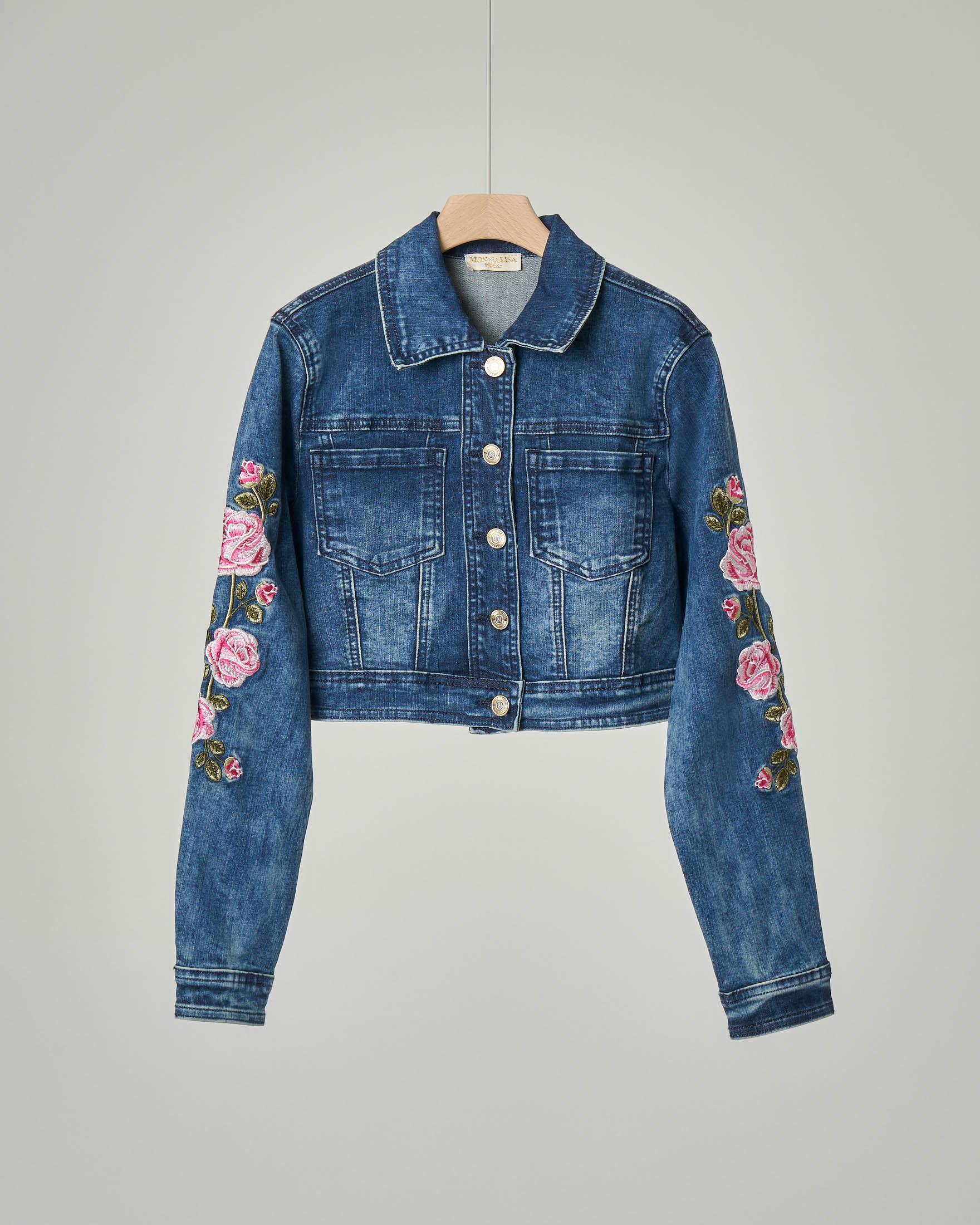 Giacca corta in denim con ricami rose