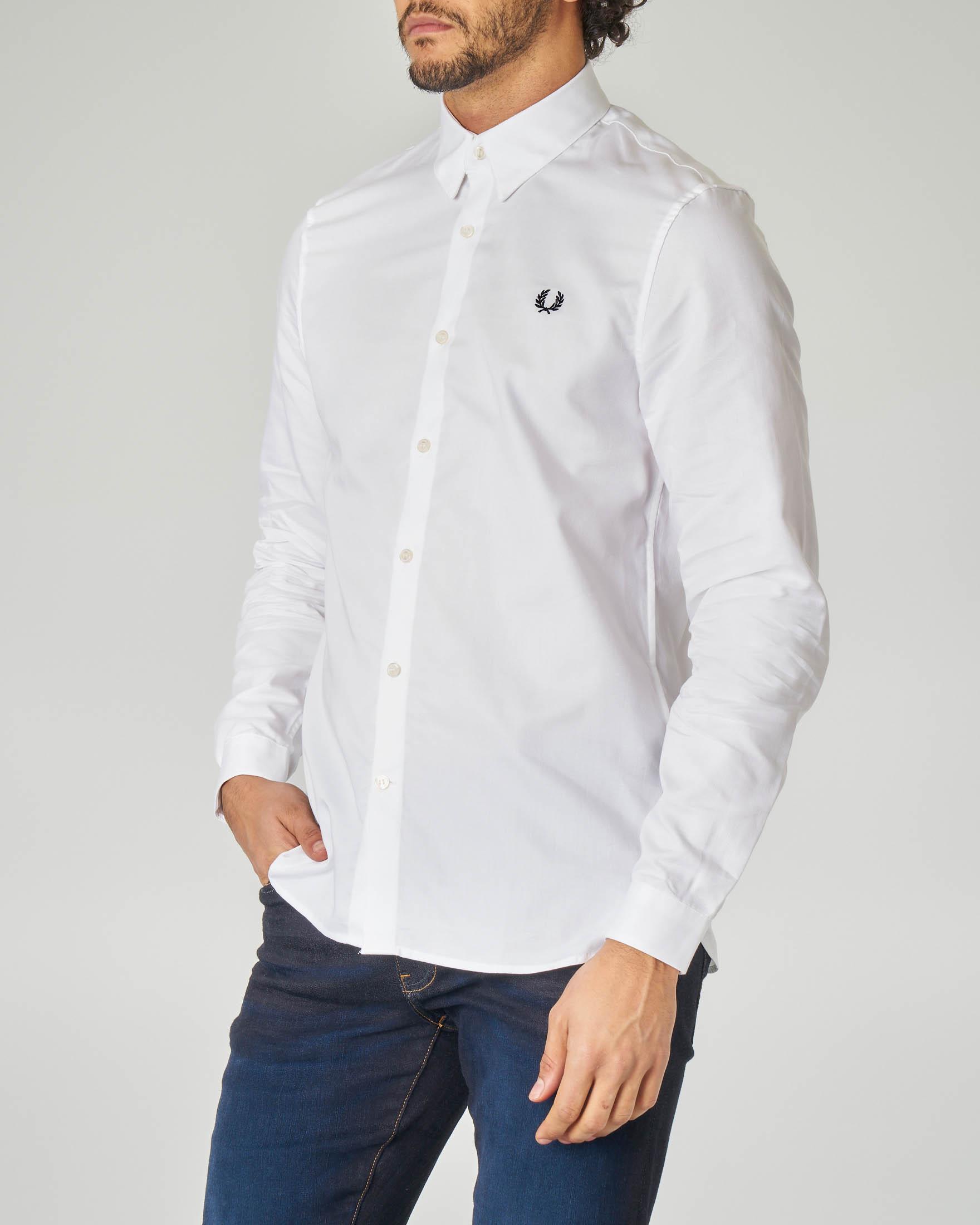 Camicia bianca in piquè con logo
