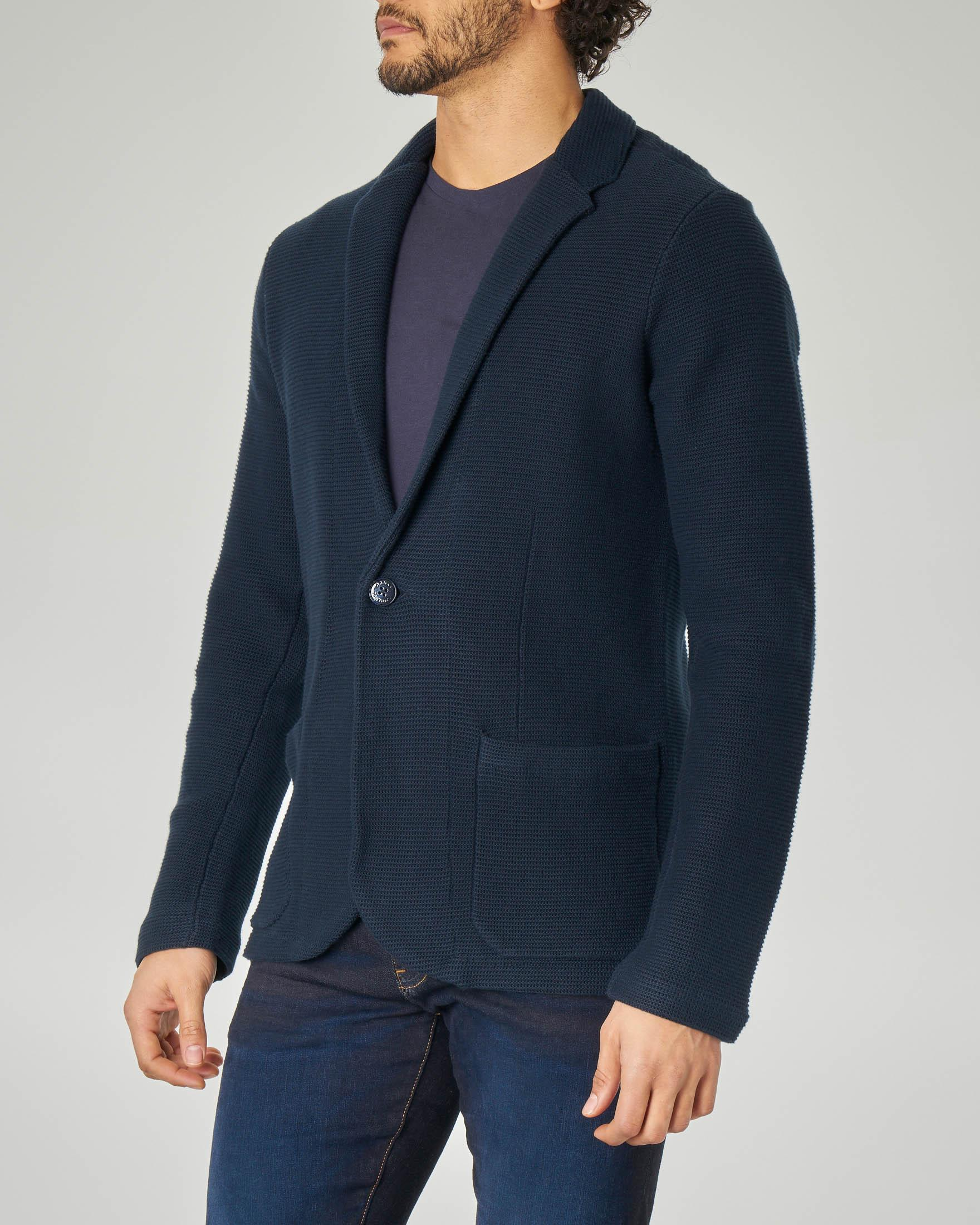 Giacca maglia blu in cotone