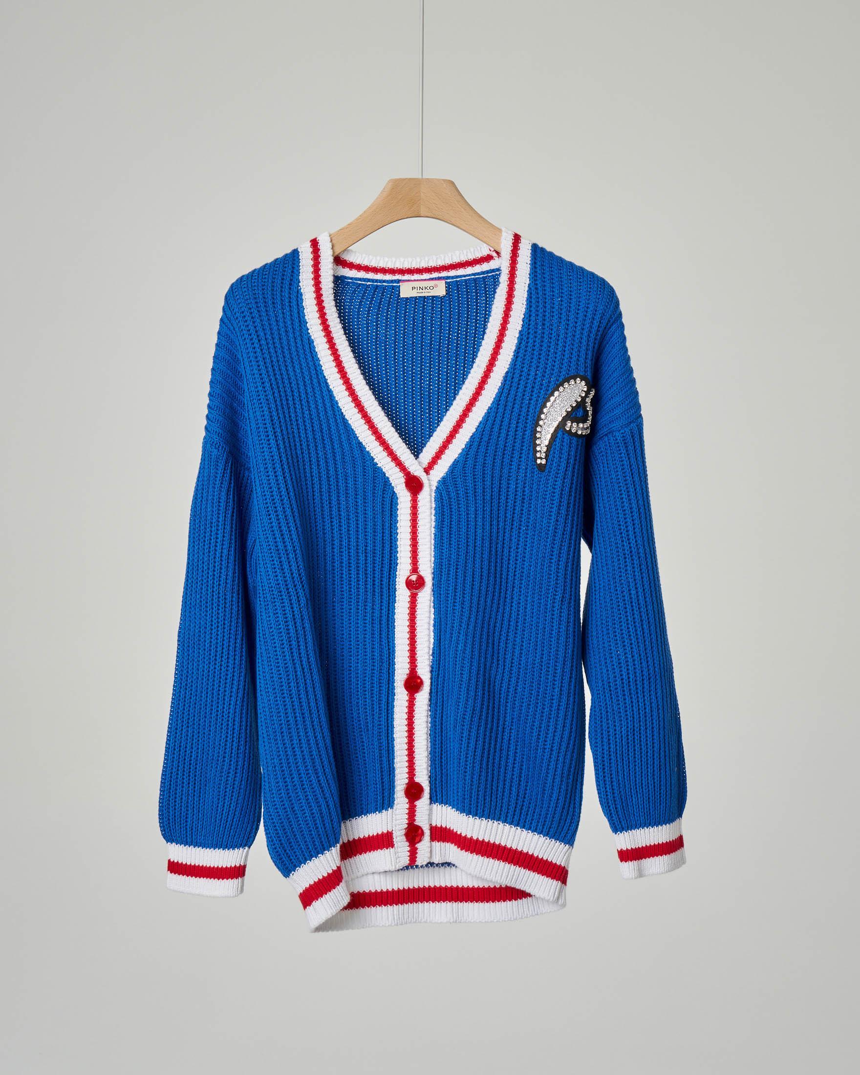Maglia cardigan blu royal stile college
