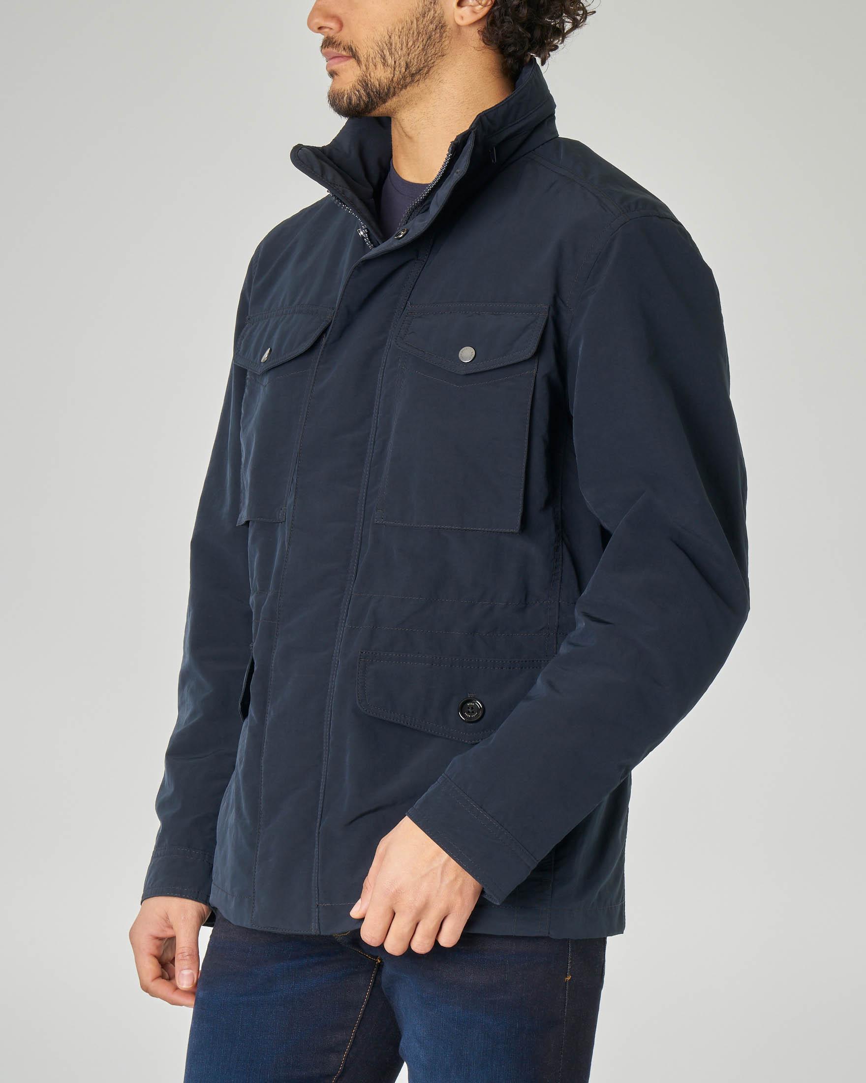 Field jacket blu in microfibra