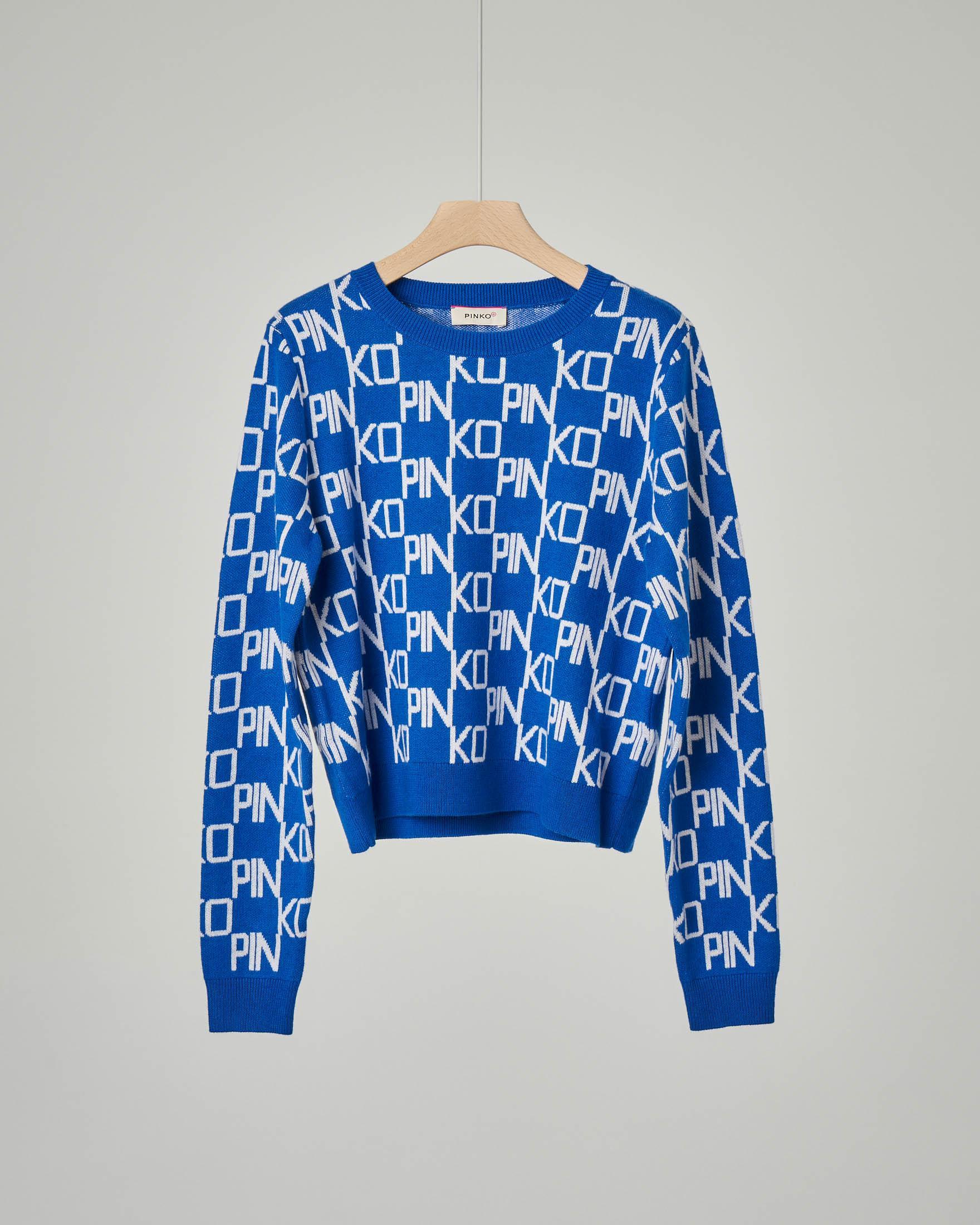 Maglia blu royal in cotone e cachemire con logo