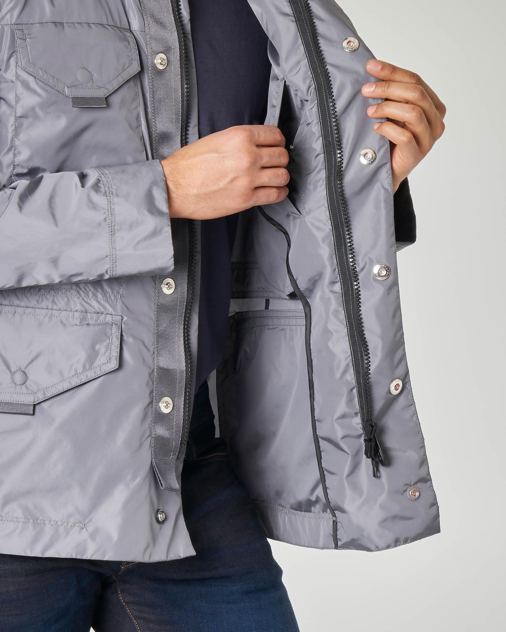 Field jacket grigia in nylon cangiante