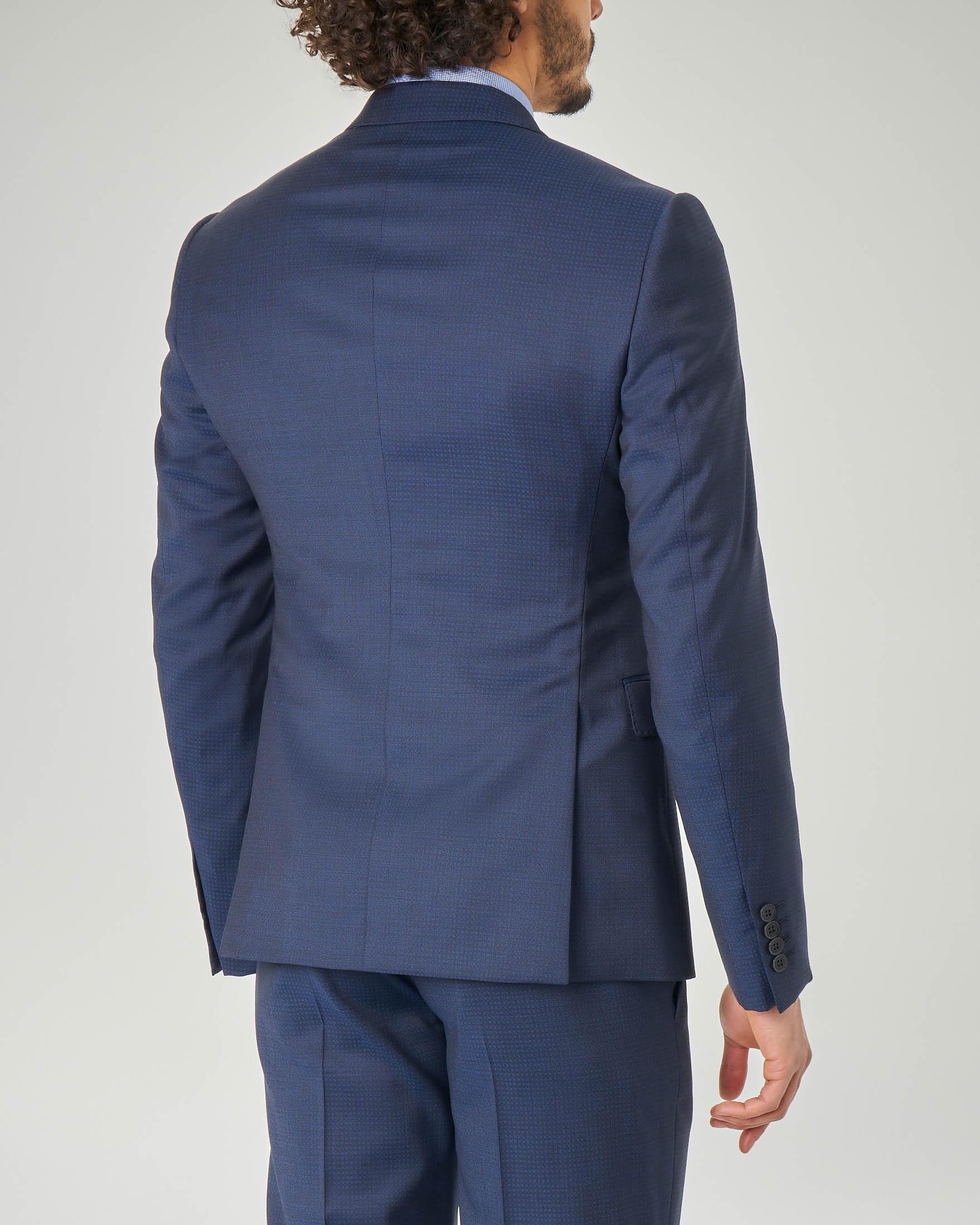 Abito blu micro-disegno in tela di lana