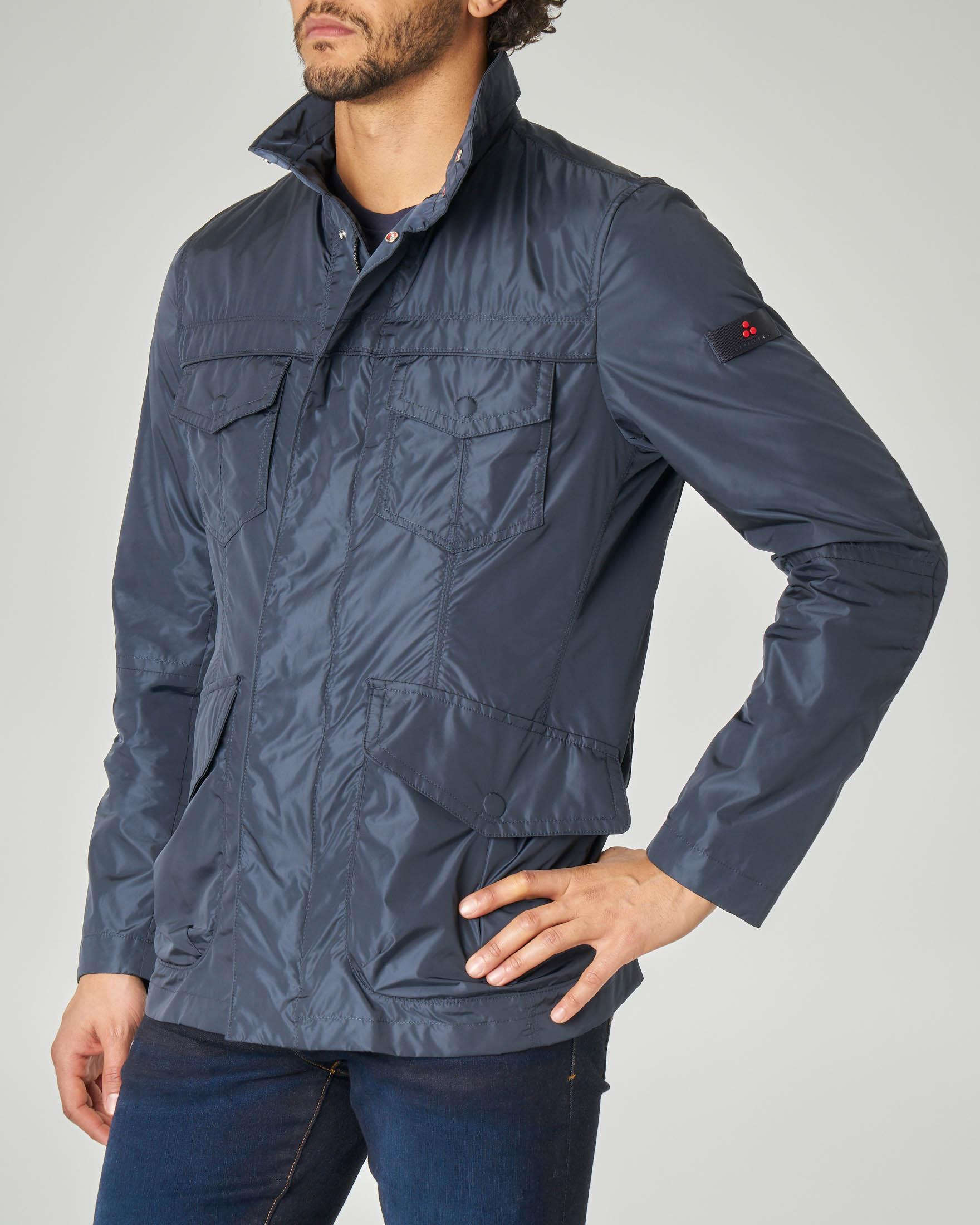 Field jacket blu in nylon cangiante
