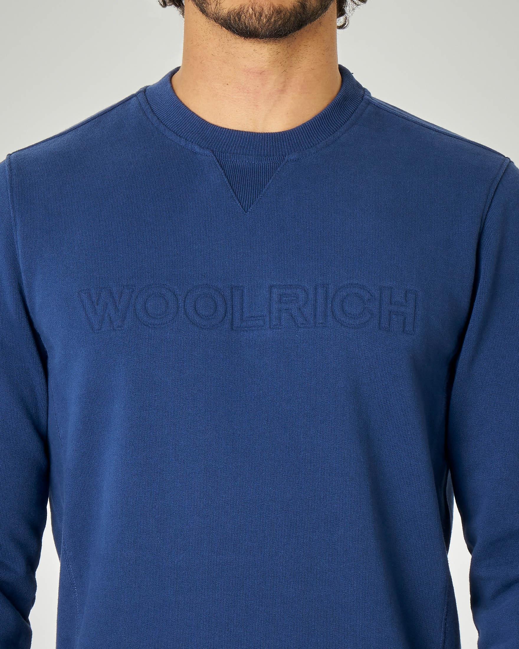 Felpa blu chiaro girocollo con logo in rilievo