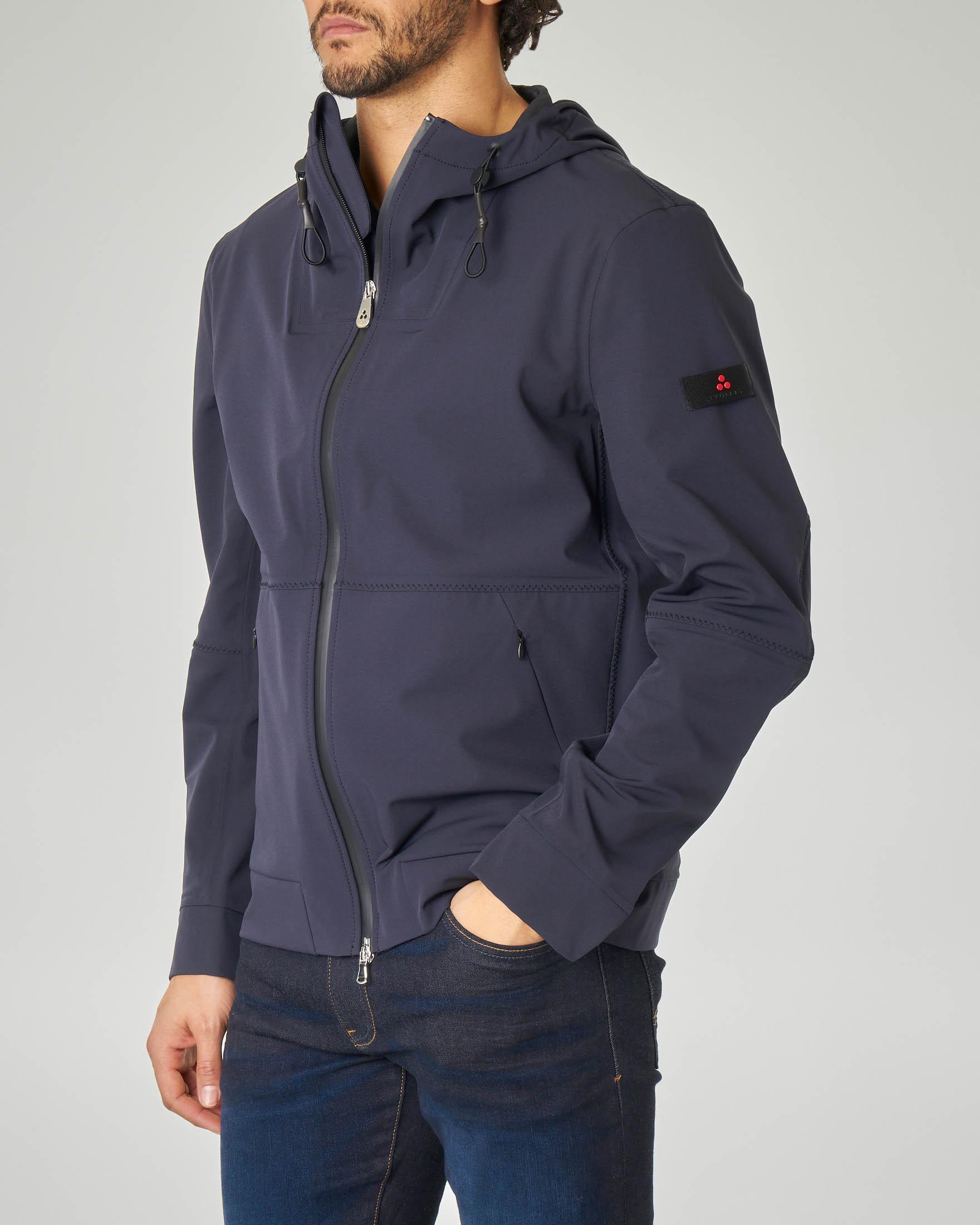 Giacca blu con cappuccio in tessuto stretch