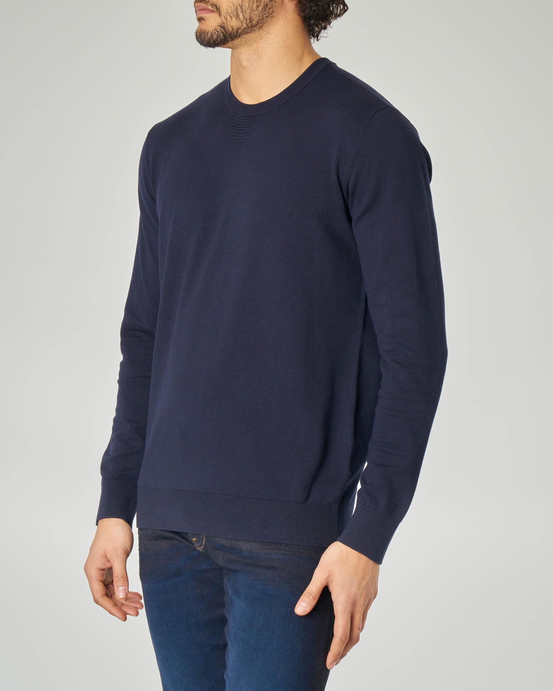 Maglia blu con aquila jacquard sulla schiena