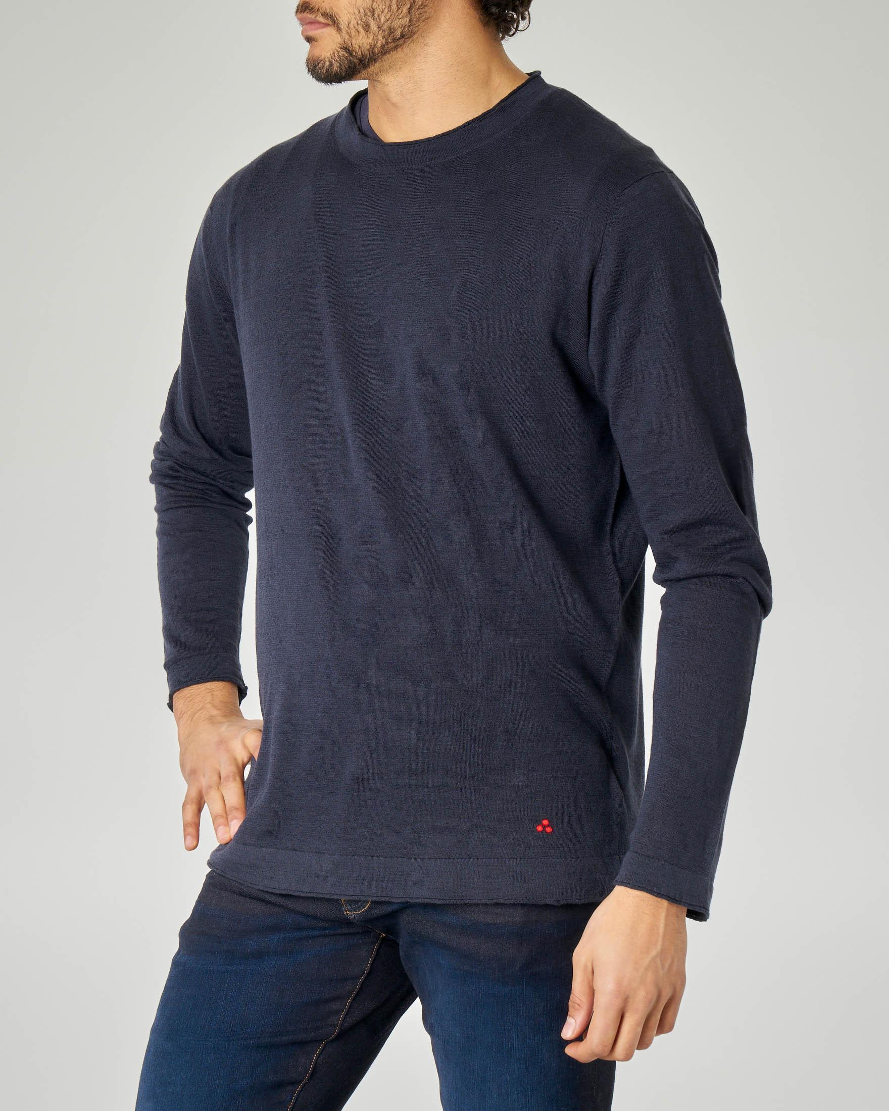 Maglia blu girocollo in lino e cotone