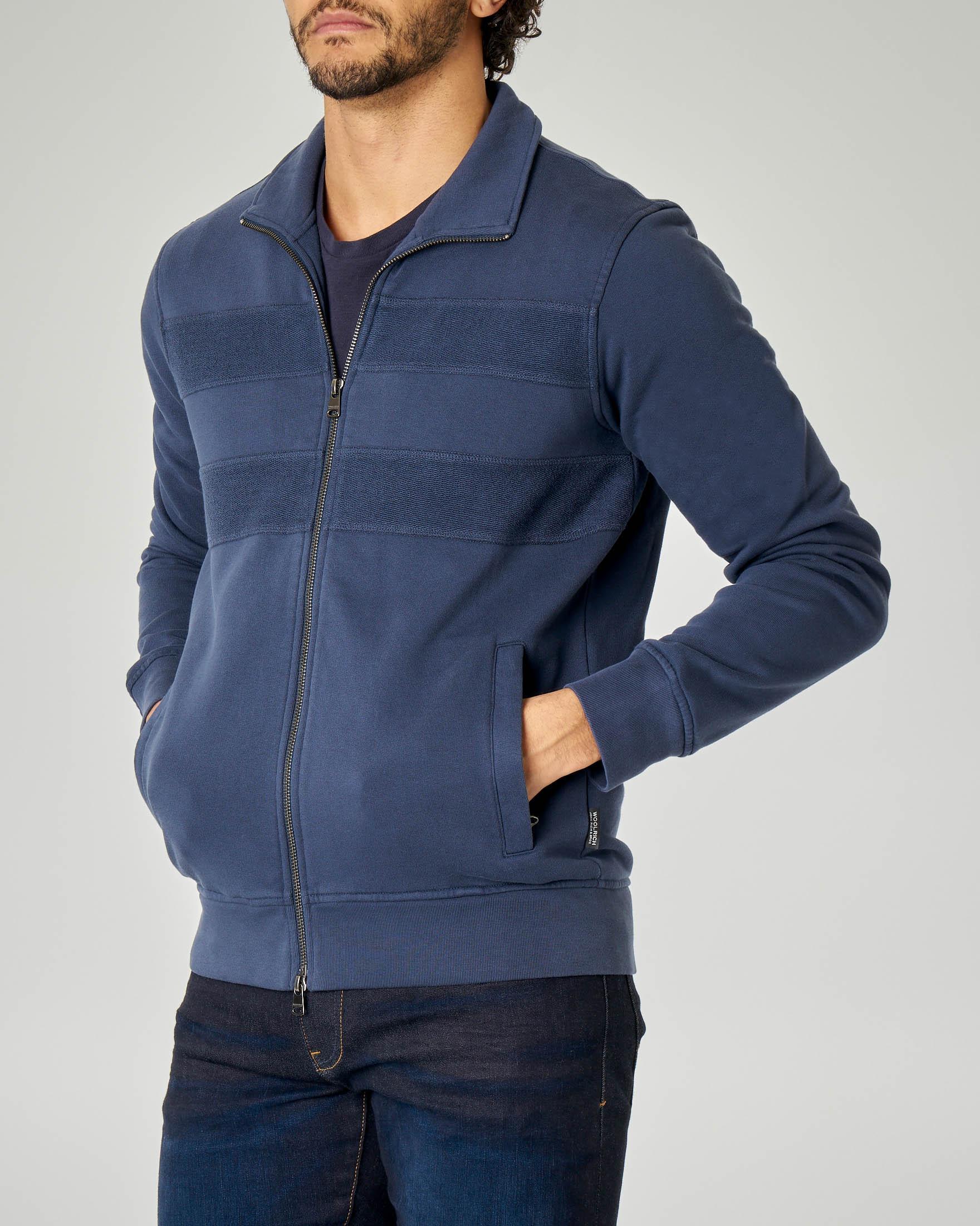 Felpa blu con zip e righe bi-tessuto