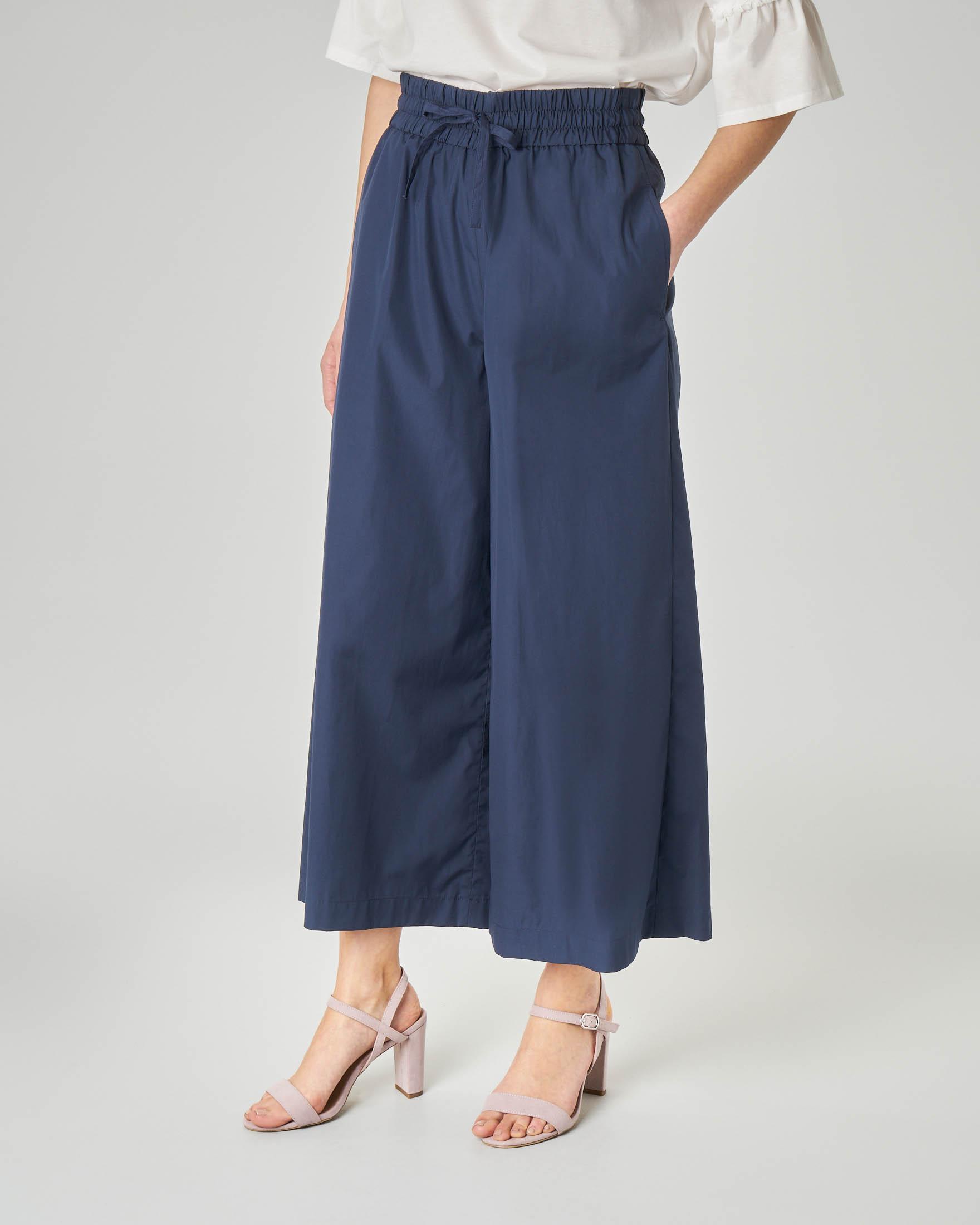 Pantaloni culotte in cotone blu