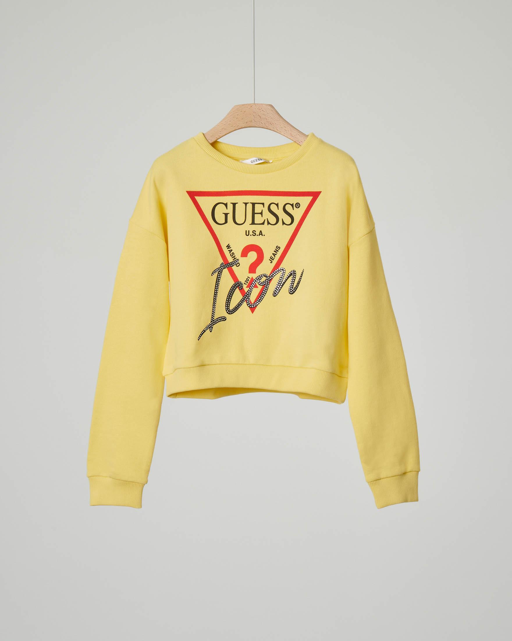 Felpa gialla con logo e borchiette