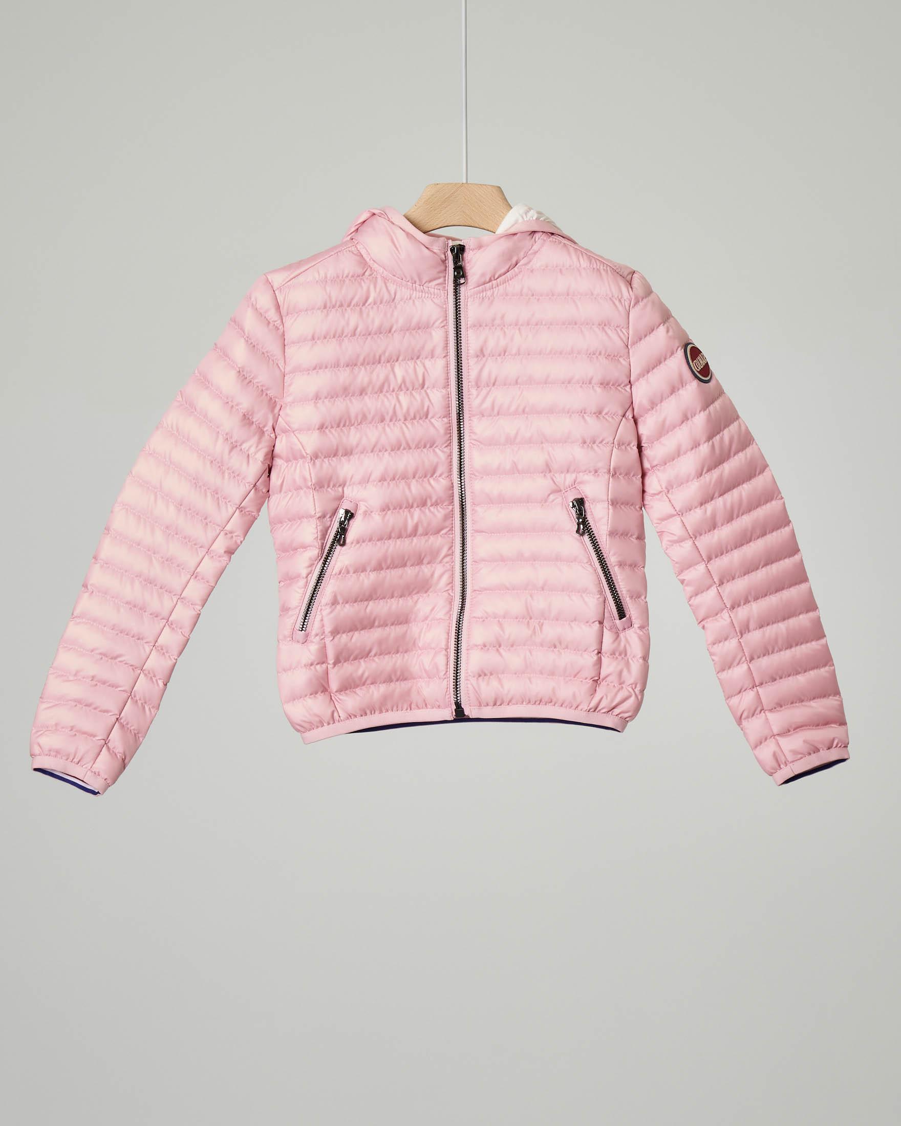 Piumino rosa con cappuccio 4-6 anni