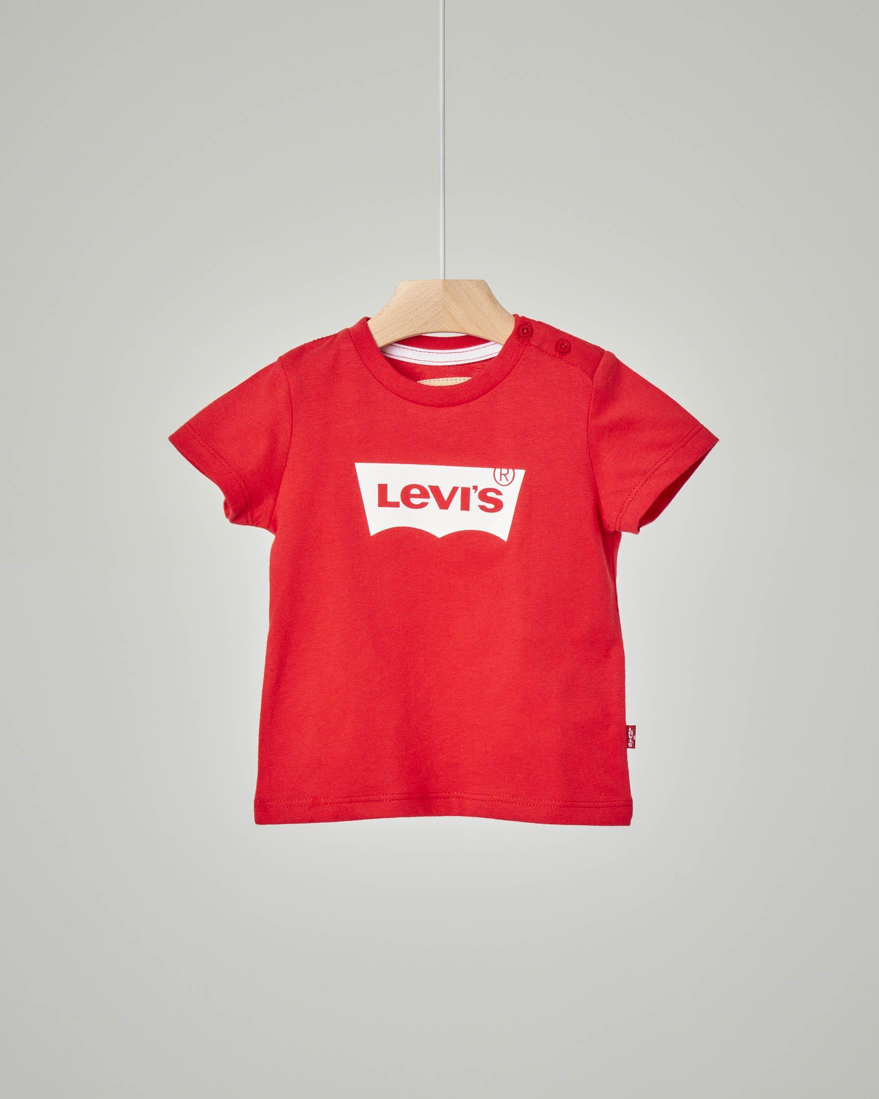 T-shirt rossa con logo batwing bianco