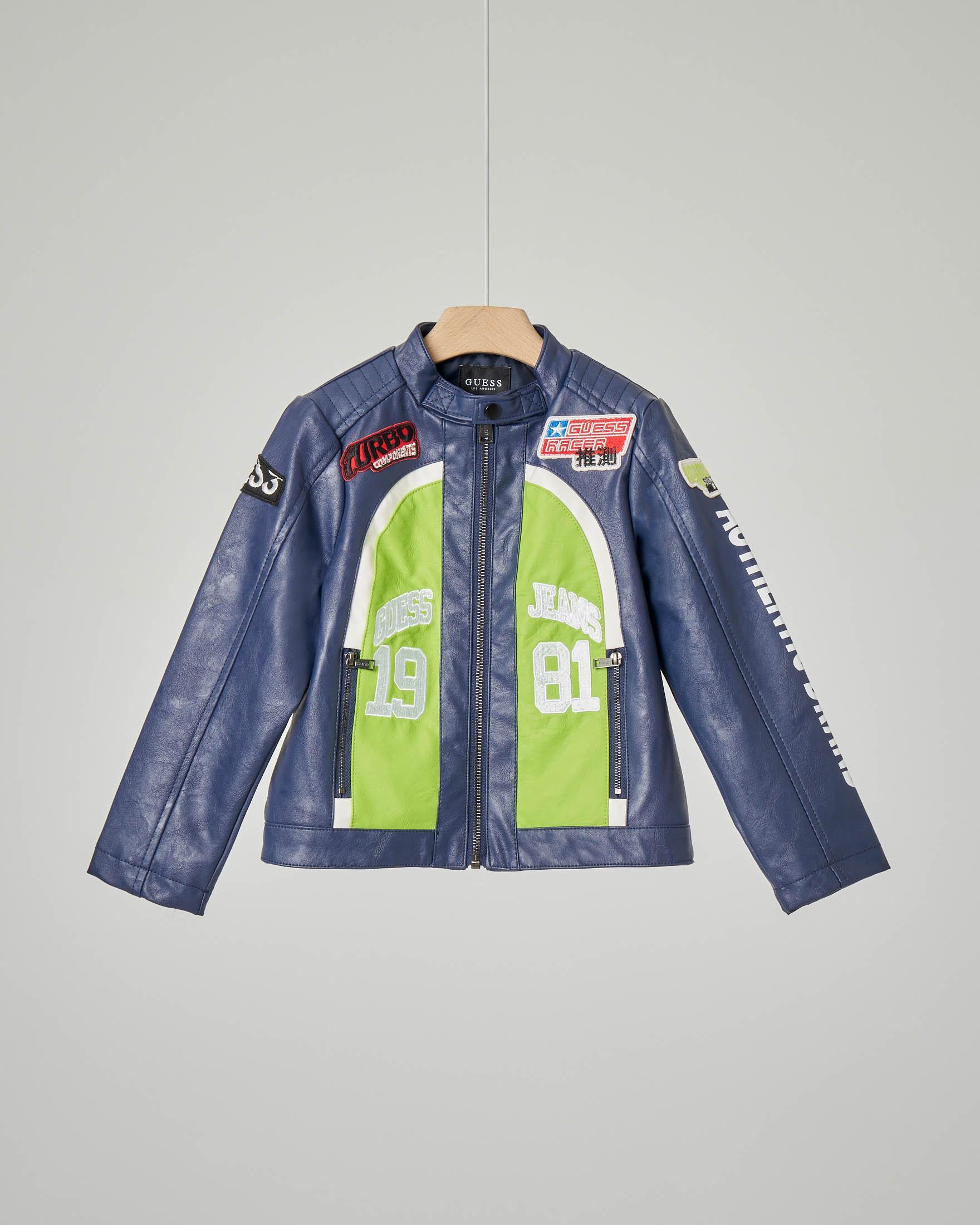 Giacca biker blu in ecopelle